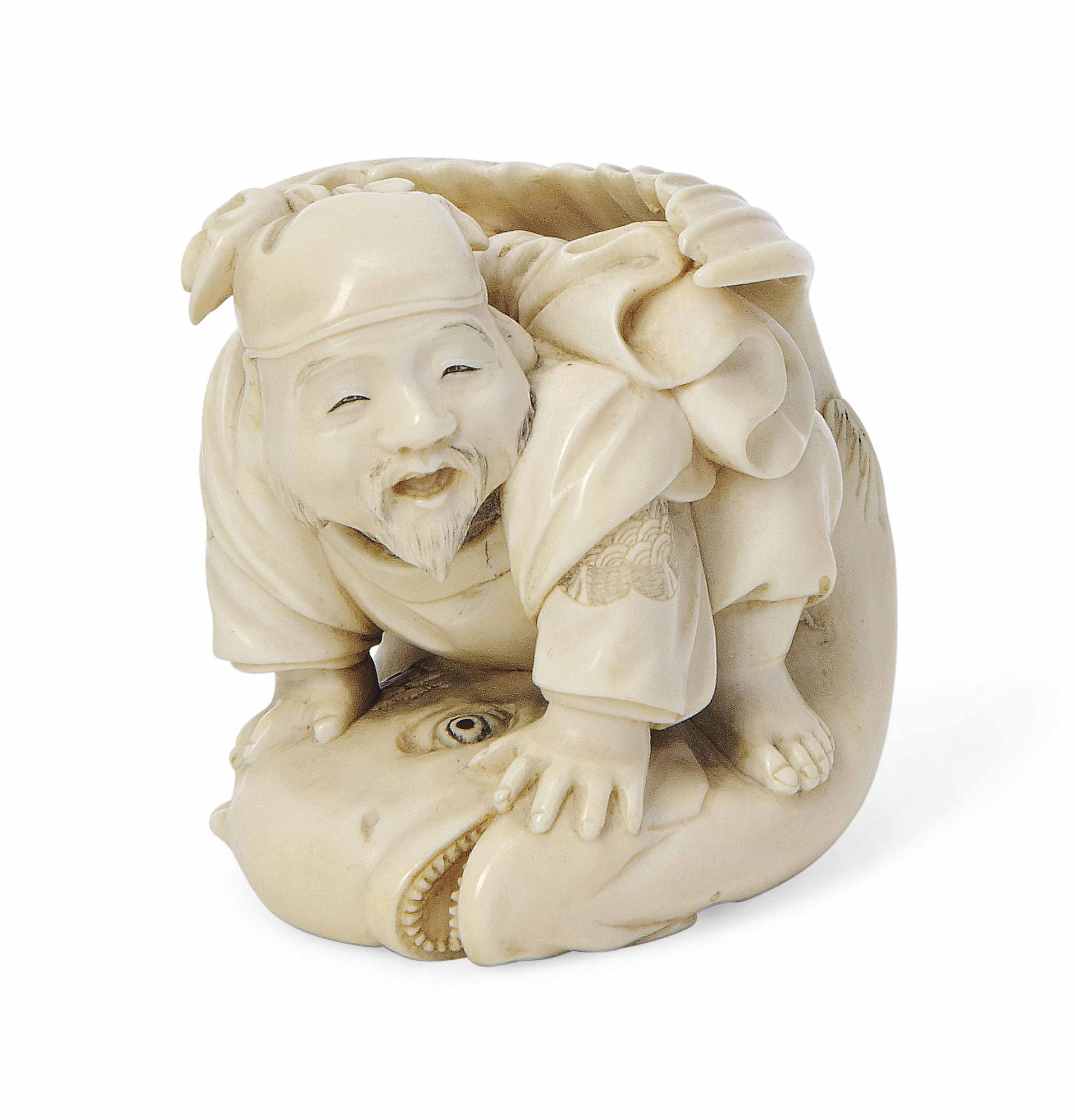 A Japanese Ivory Okimono [Scul