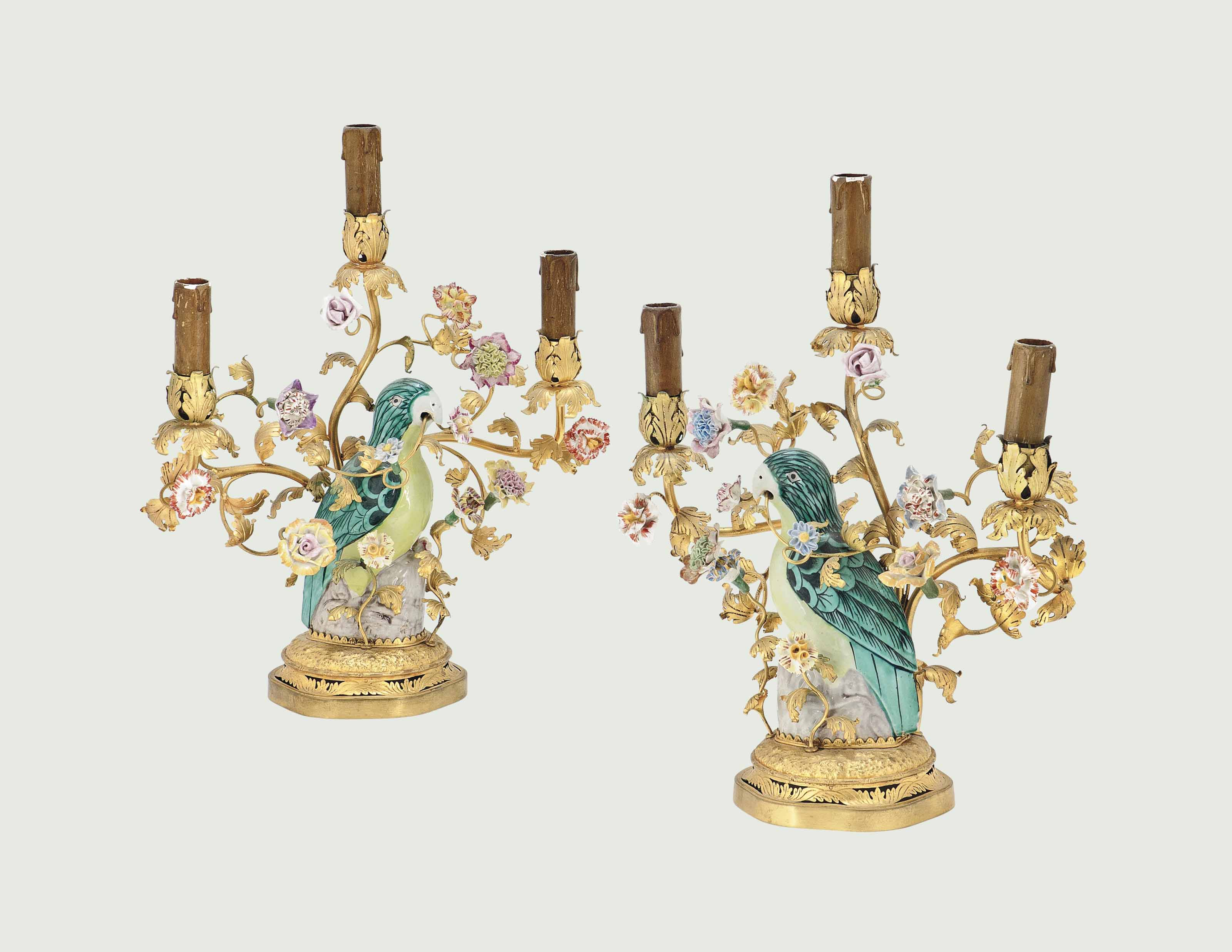 A PAIR OF GILT-BRASS AND PORCE