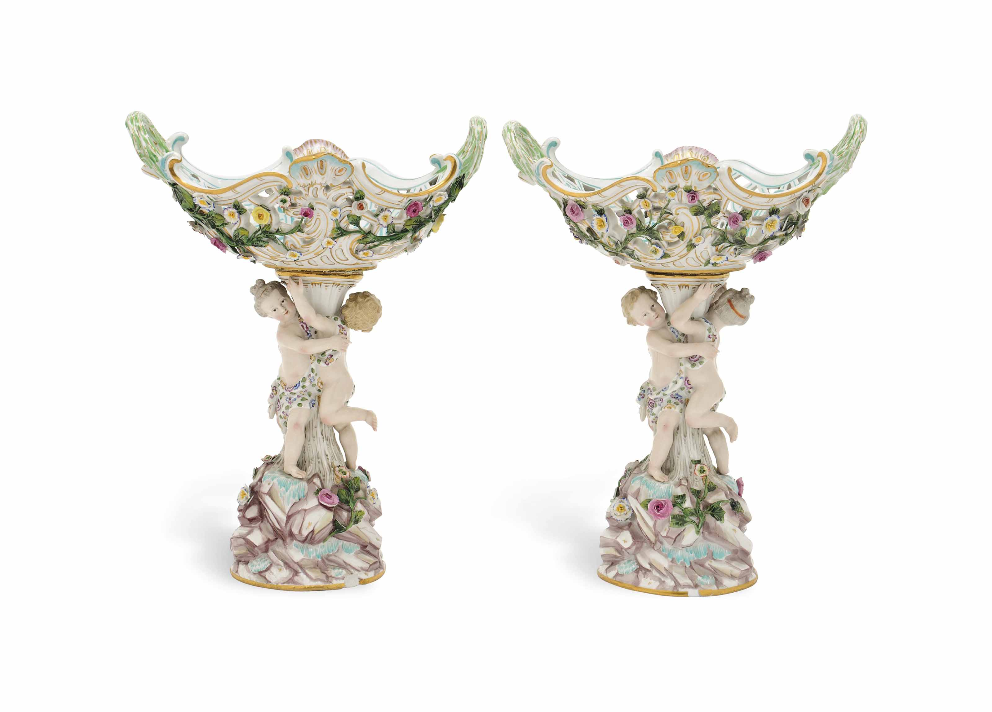 A PAIR OF MEISSEN FIGURAL CENT