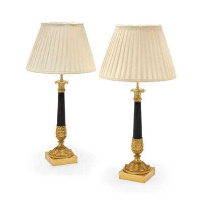 A PAIR OF GILT AND PATINATED C