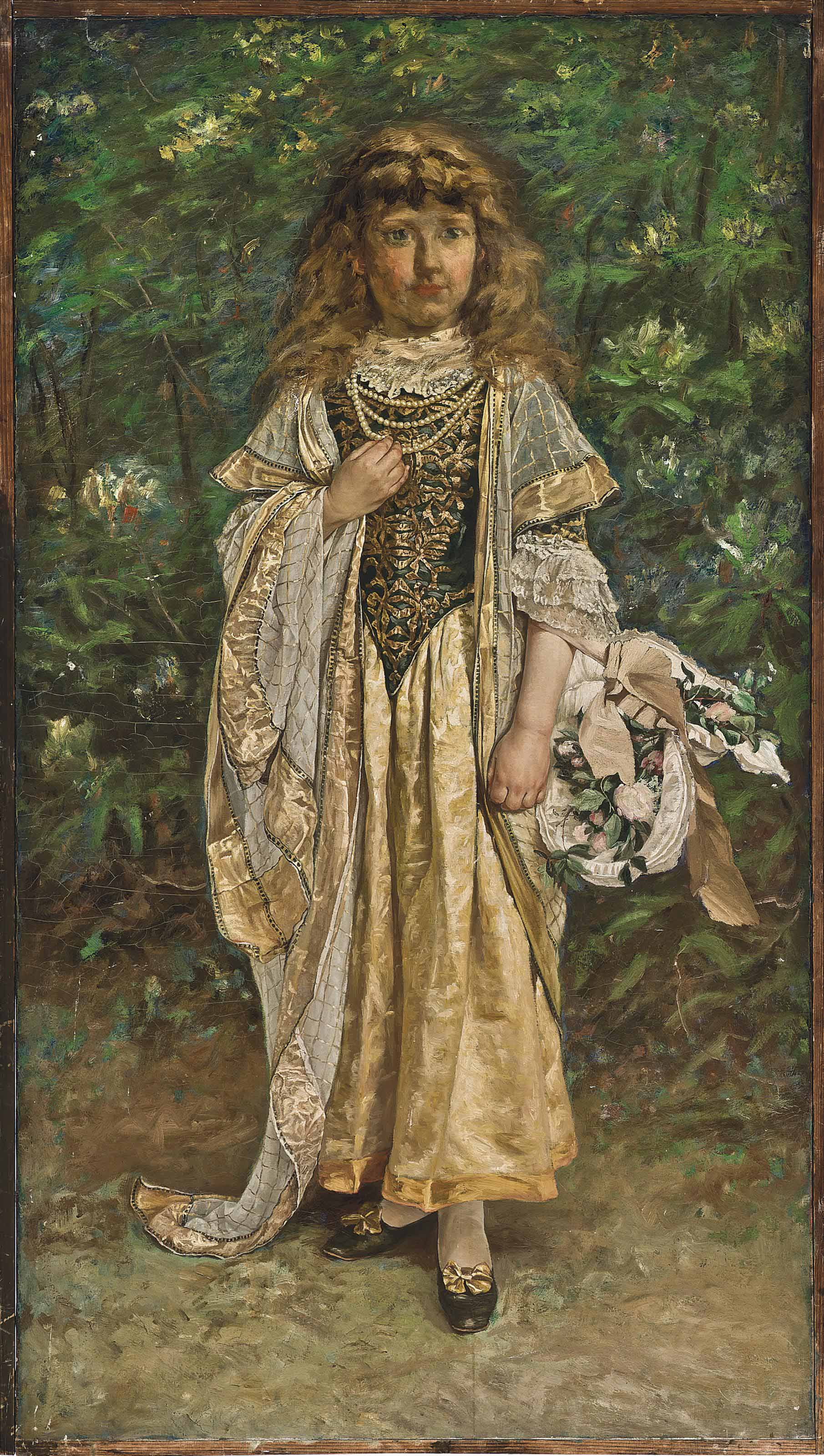 Portrait of Moya Hennessey, the artist's daughter, aged about 10, standing full length, in an elaborate costume and carrying a basket of flowers