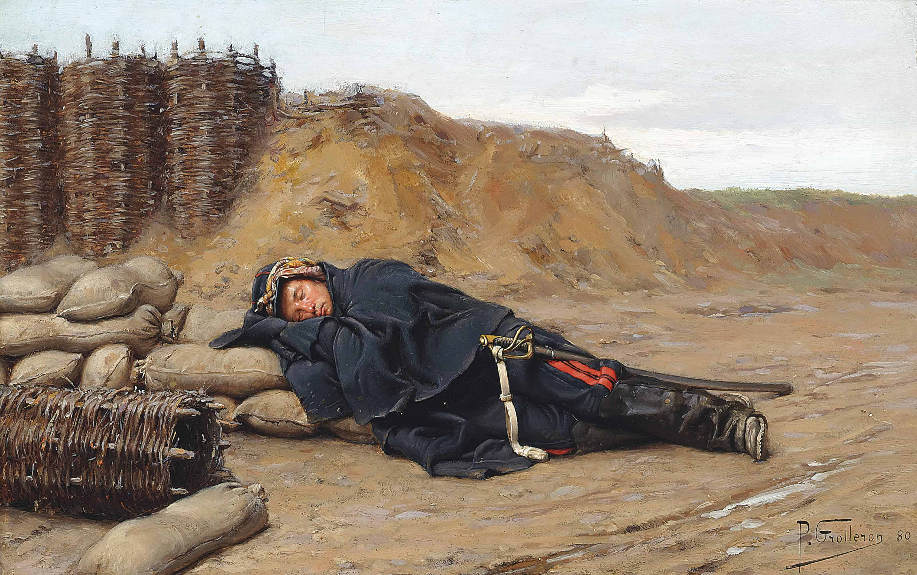 A sleeping Napoleonic soldier