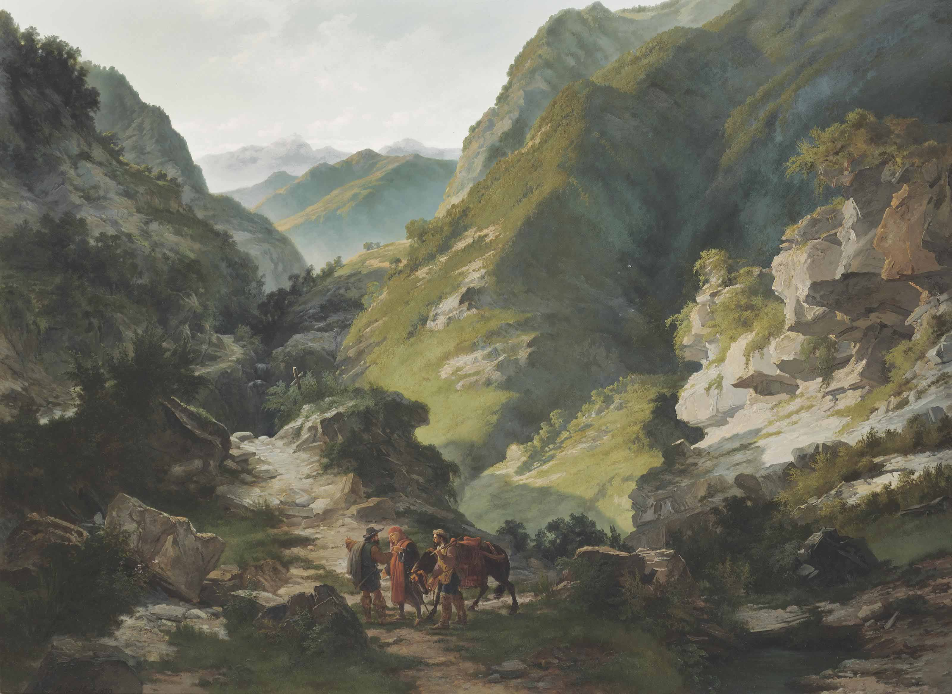 Travellers in the mountains