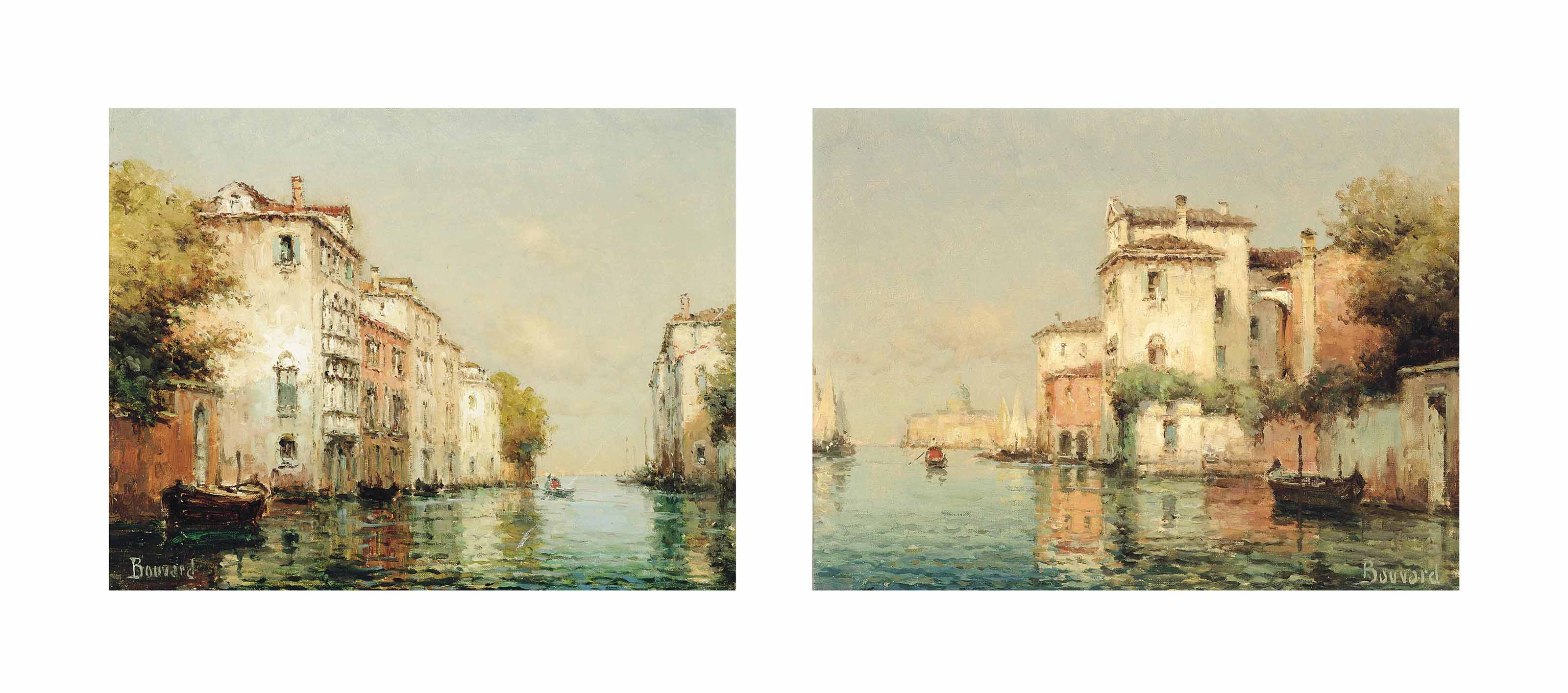 A gondolier on a quiet Venetian backwater; and A gondolier on a Venetian backwater, Santa Maria della Salute beyond