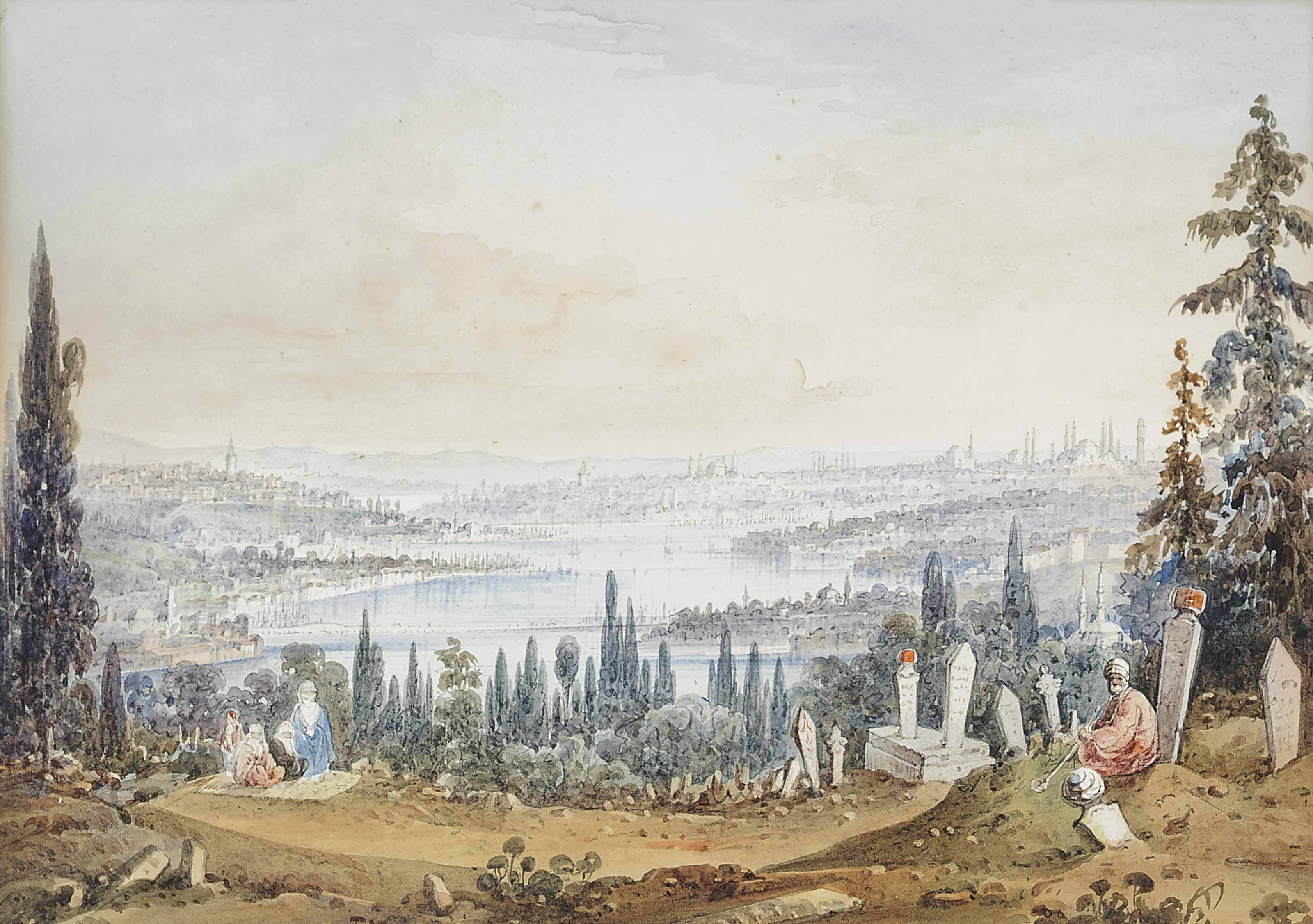 Figures in the Turkish cemetery at Ayoub above the Bosphorus, Constantinople