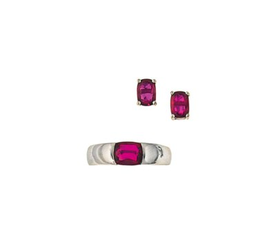 A ruby single stone ring, by S