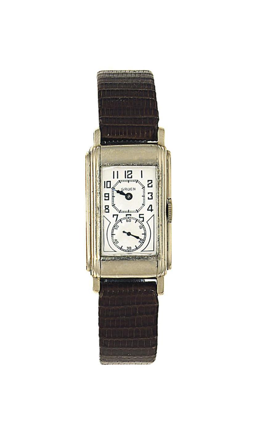An Art Deco white gold wristwatch, by Gruen