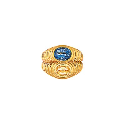 A sapphire two stone ring, by