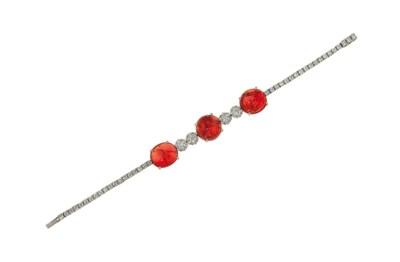 A spinel and diamond bracelet