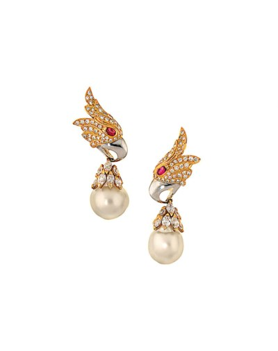 A pair of cultured pearl, ruby