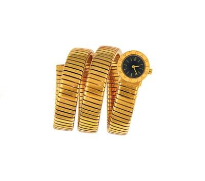 An 18ct gold 'Tubogas' quartz