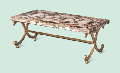 AN ORMOLU-MOUNTED MARBLE LOW T
