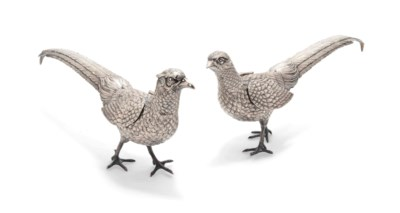 A PAIR OF FRENCH SILVER PHEASA