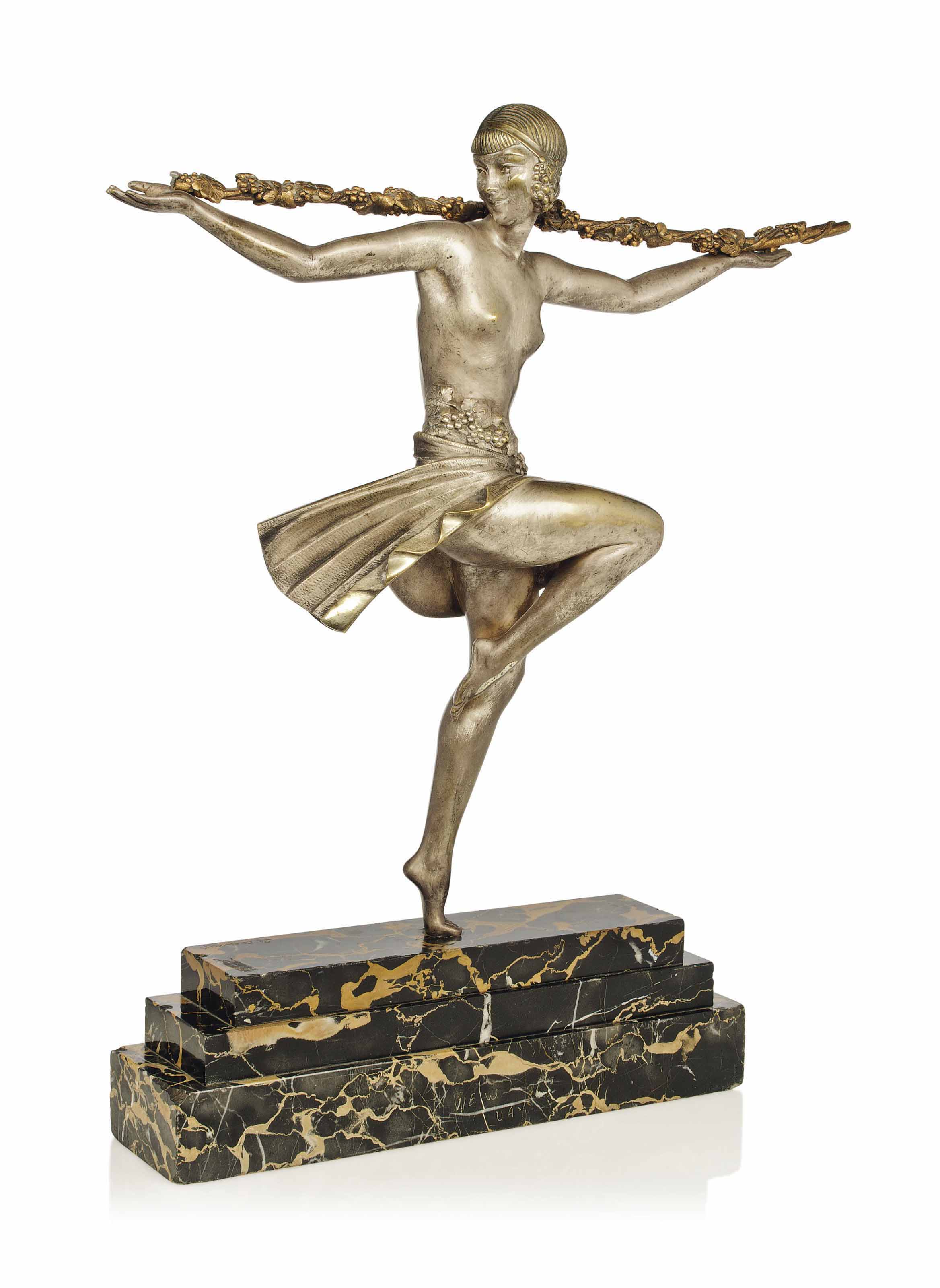 A PIERRE LE FAGUAYS (1892-1935) COLD-PAINTED SILVERED BRONZE FIGURE
