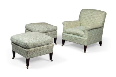 A PAIR OF BEECH STOOLS AND MAT
