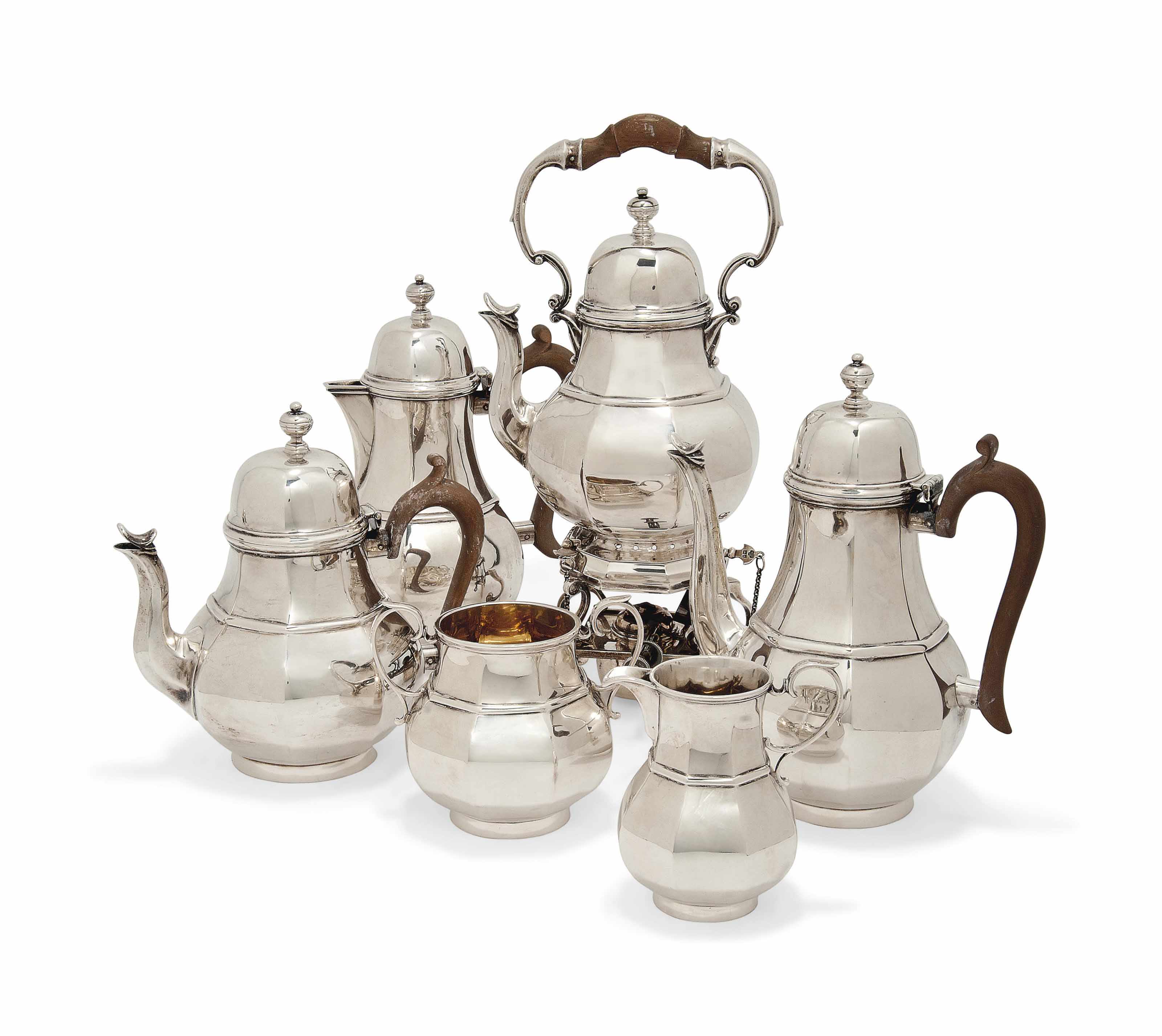 A SIX-PIECE SILVER TEA AND COFFEE SERVICE IN QUEEN ANNE STYLE
