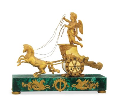 AN ORMOLU AND MALACHITE STRIKI