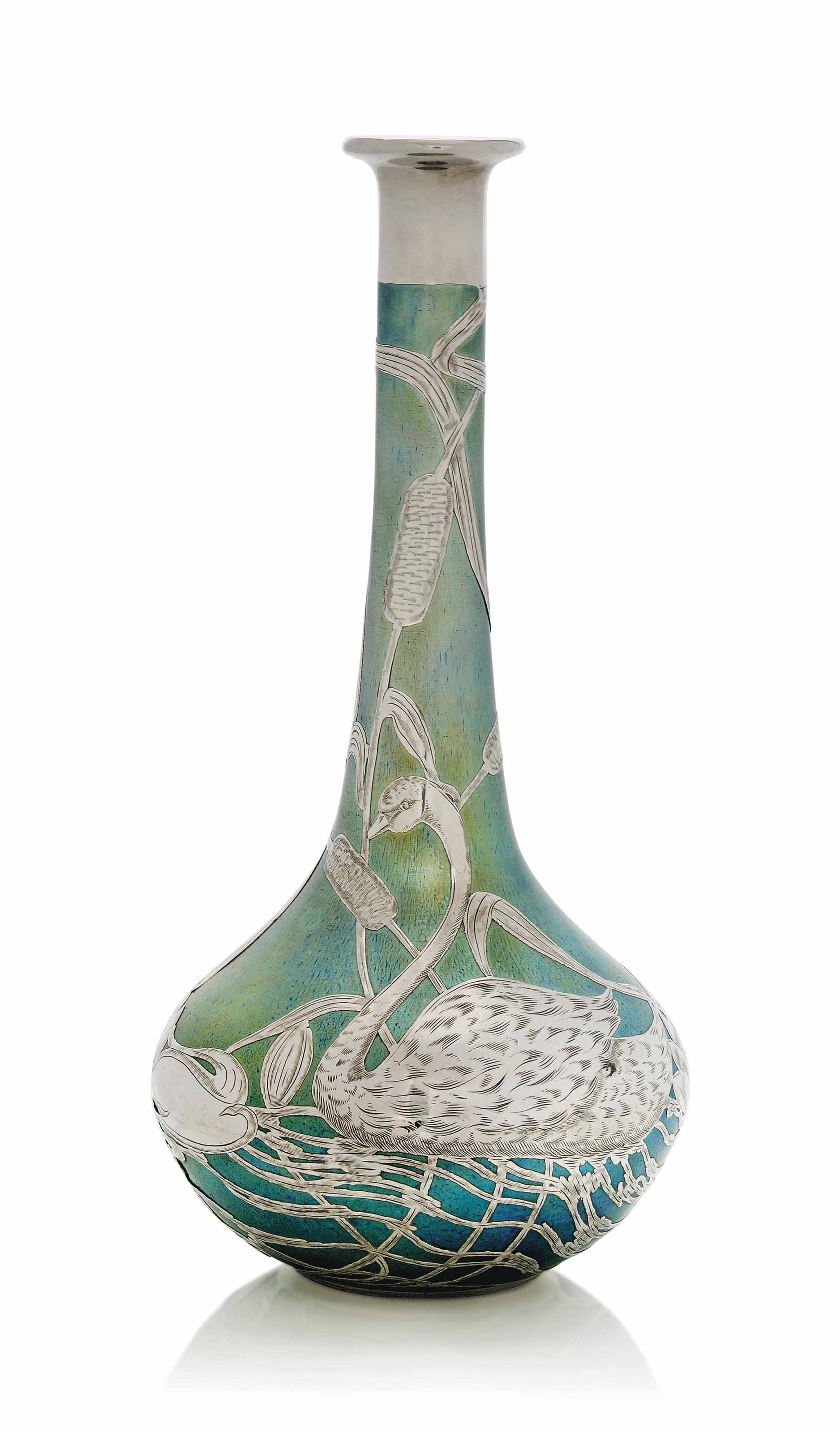 A LOETZ IRIDESCENT GLASS VASE WITH SILVER APPLIQUE