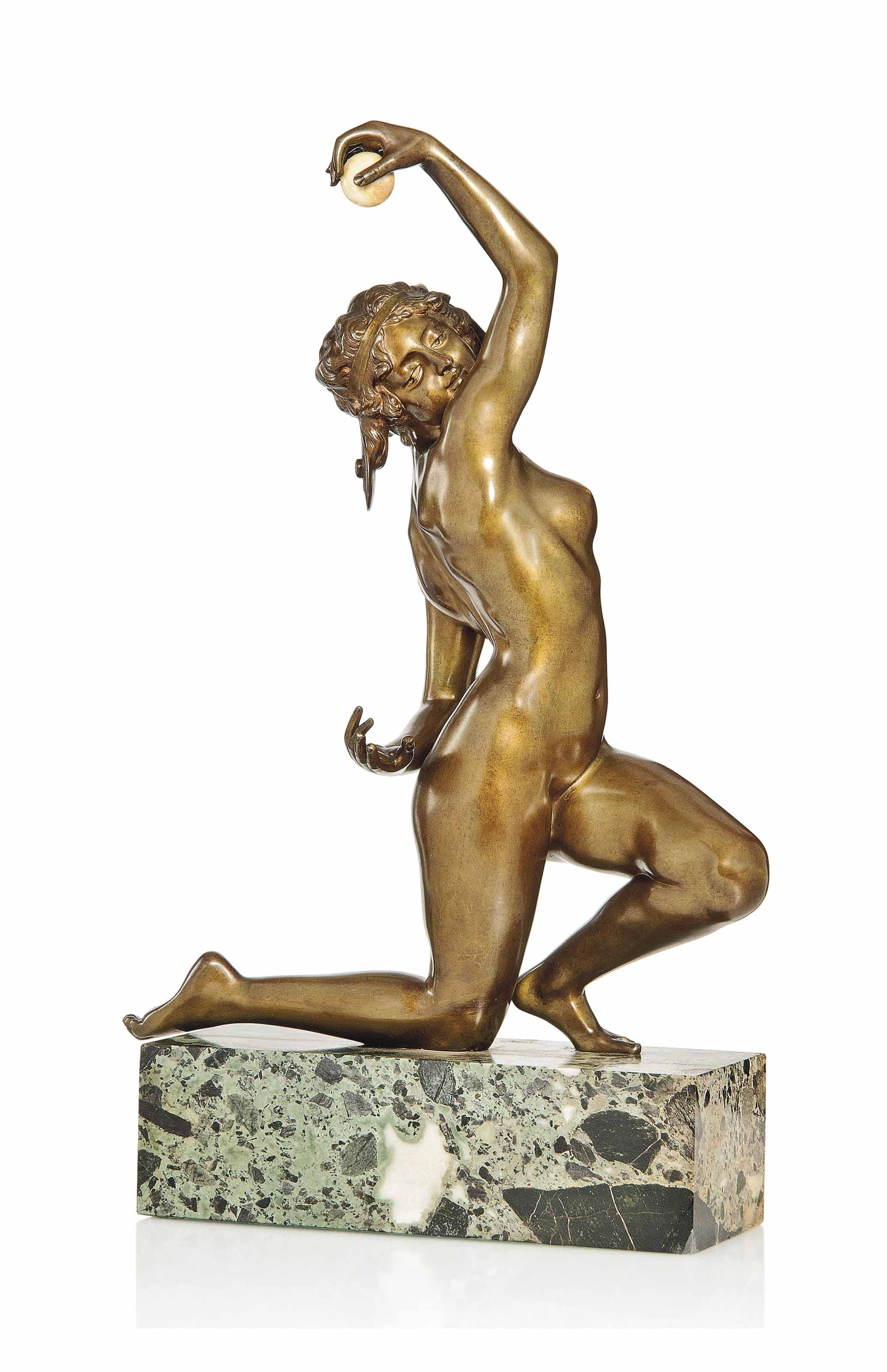 A LARGE AFFORTUNATO GORY PATINATED BRONZE AND IVORY FIGURE