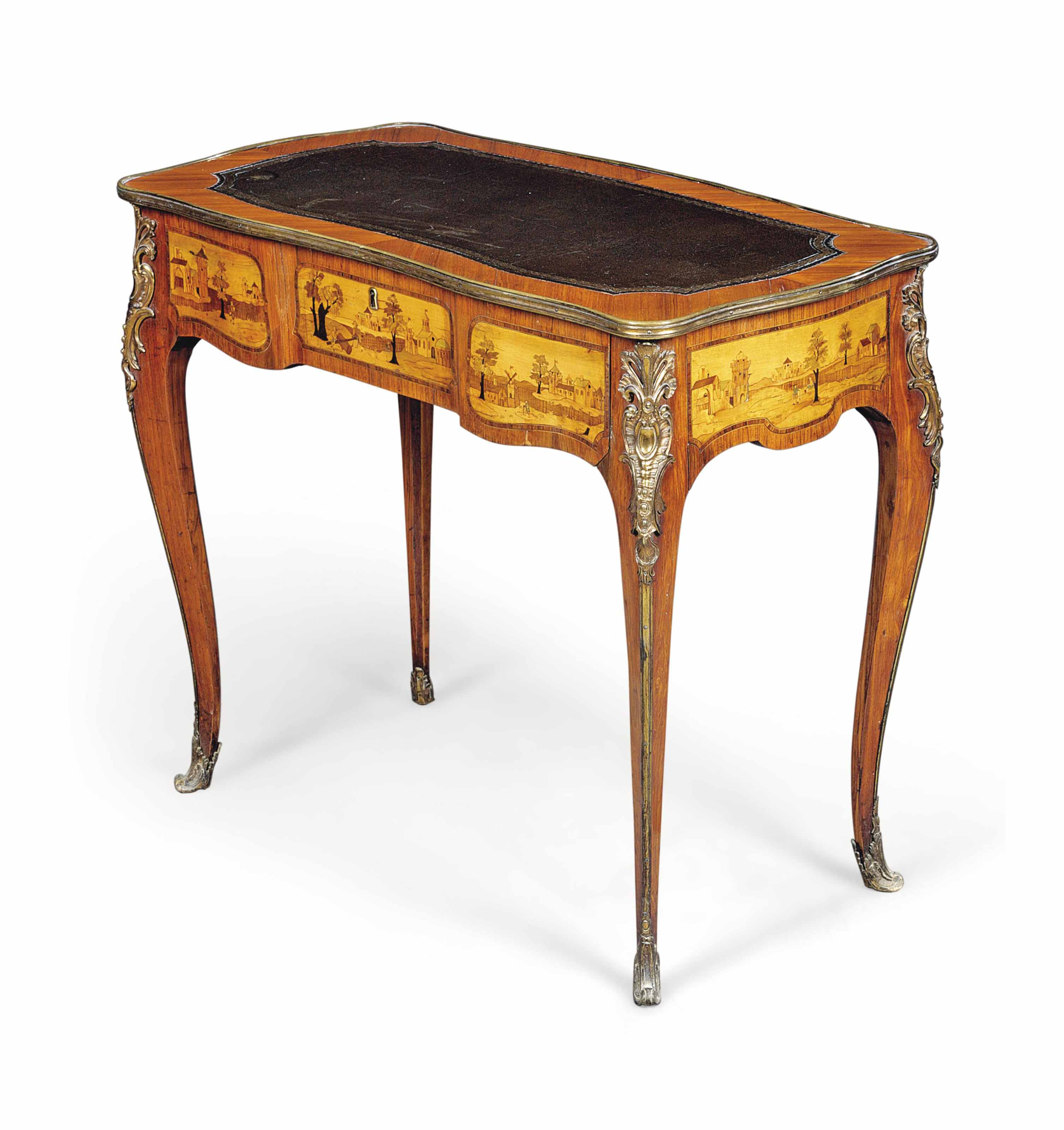 A LOUIS XV GILT-LACQUERED-BRONZE-MOUNTED TULIPWOOD, FRUITWOOD AND MARQUETRY TABLE A ECRIRE