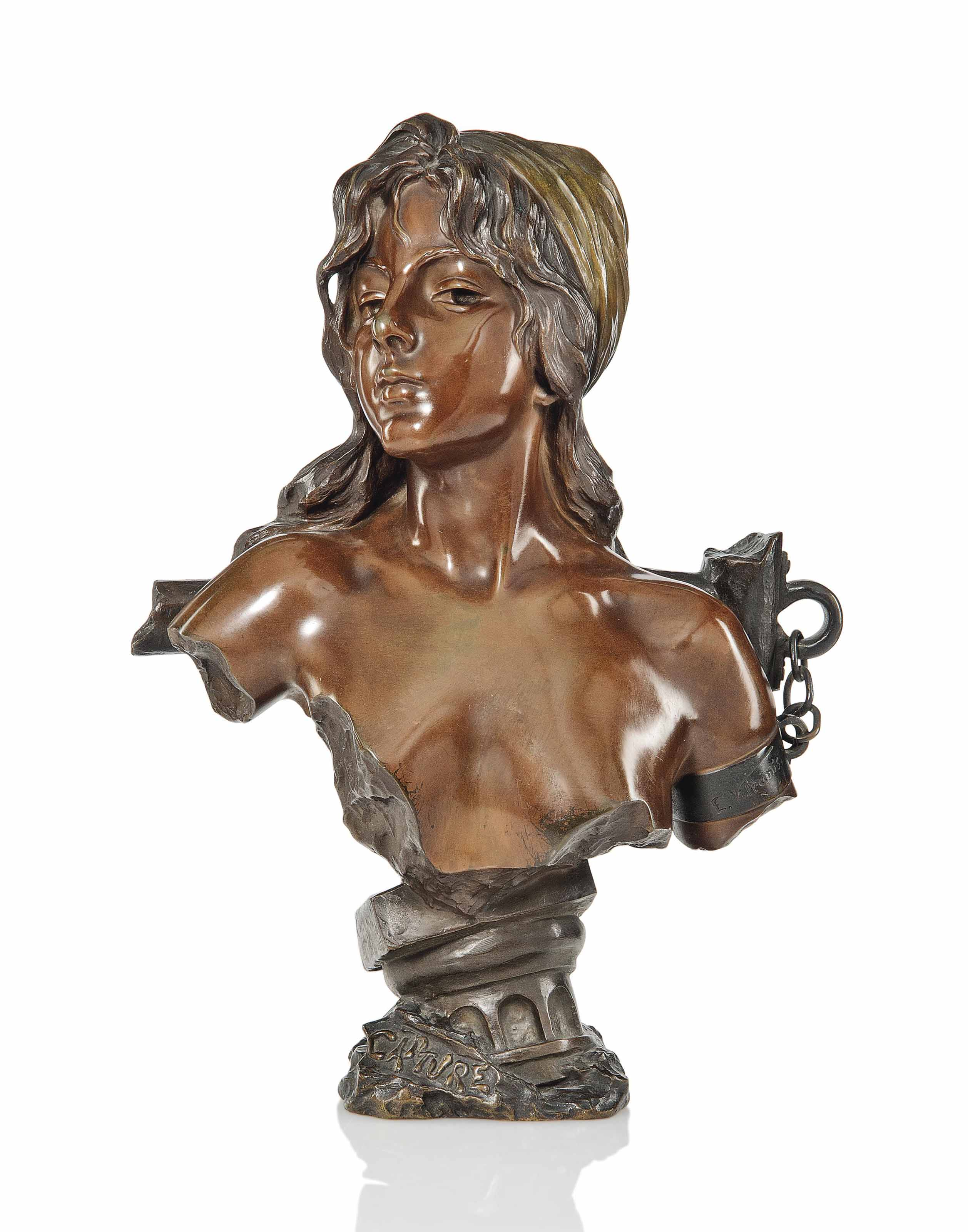 AN EMMANUEL VILLANIS (1858-1914) PATINATED BRONZE BUST