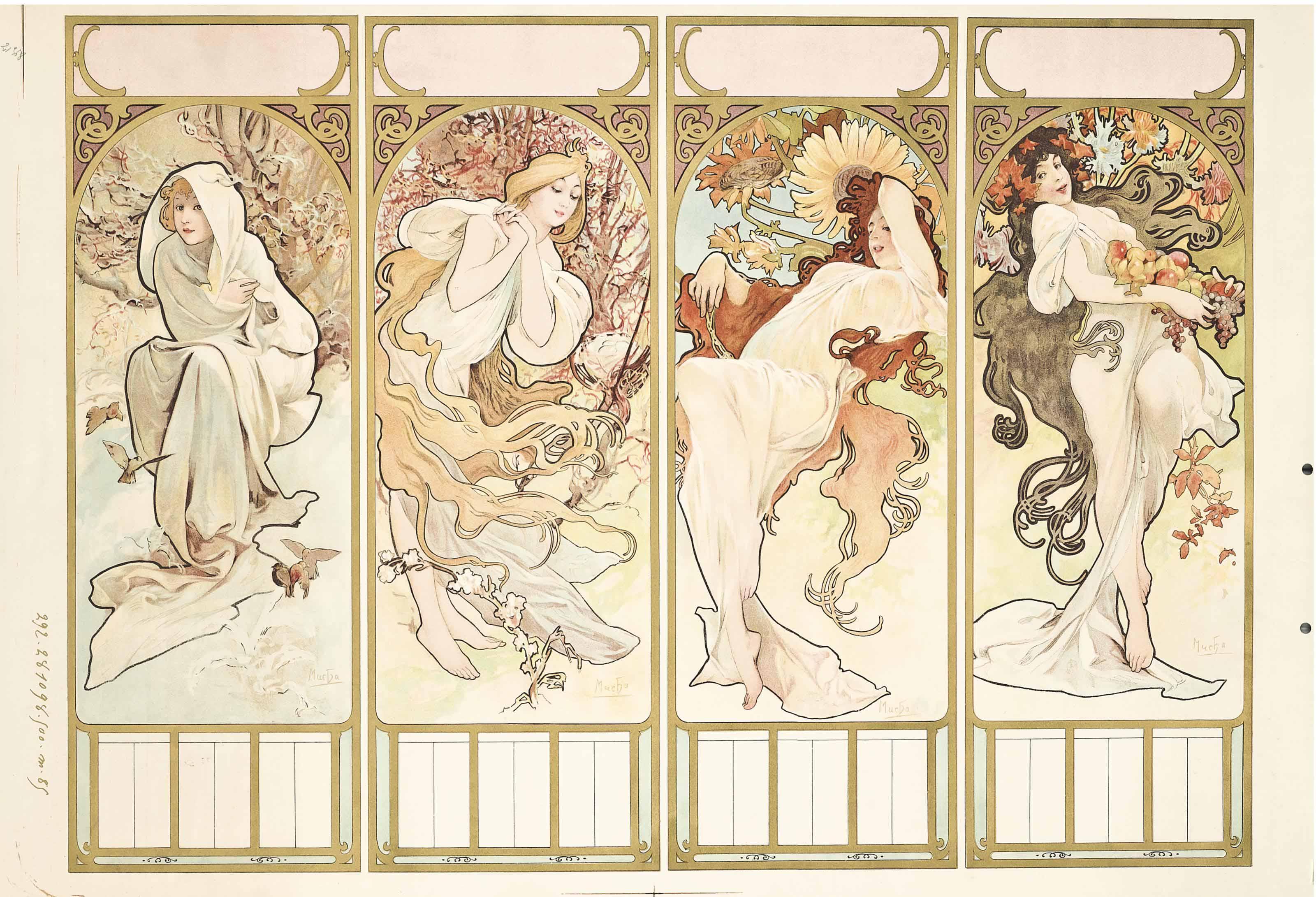 Alphonse Mucha (1860-1939) , LES SAISONS / THE SEASONS ...