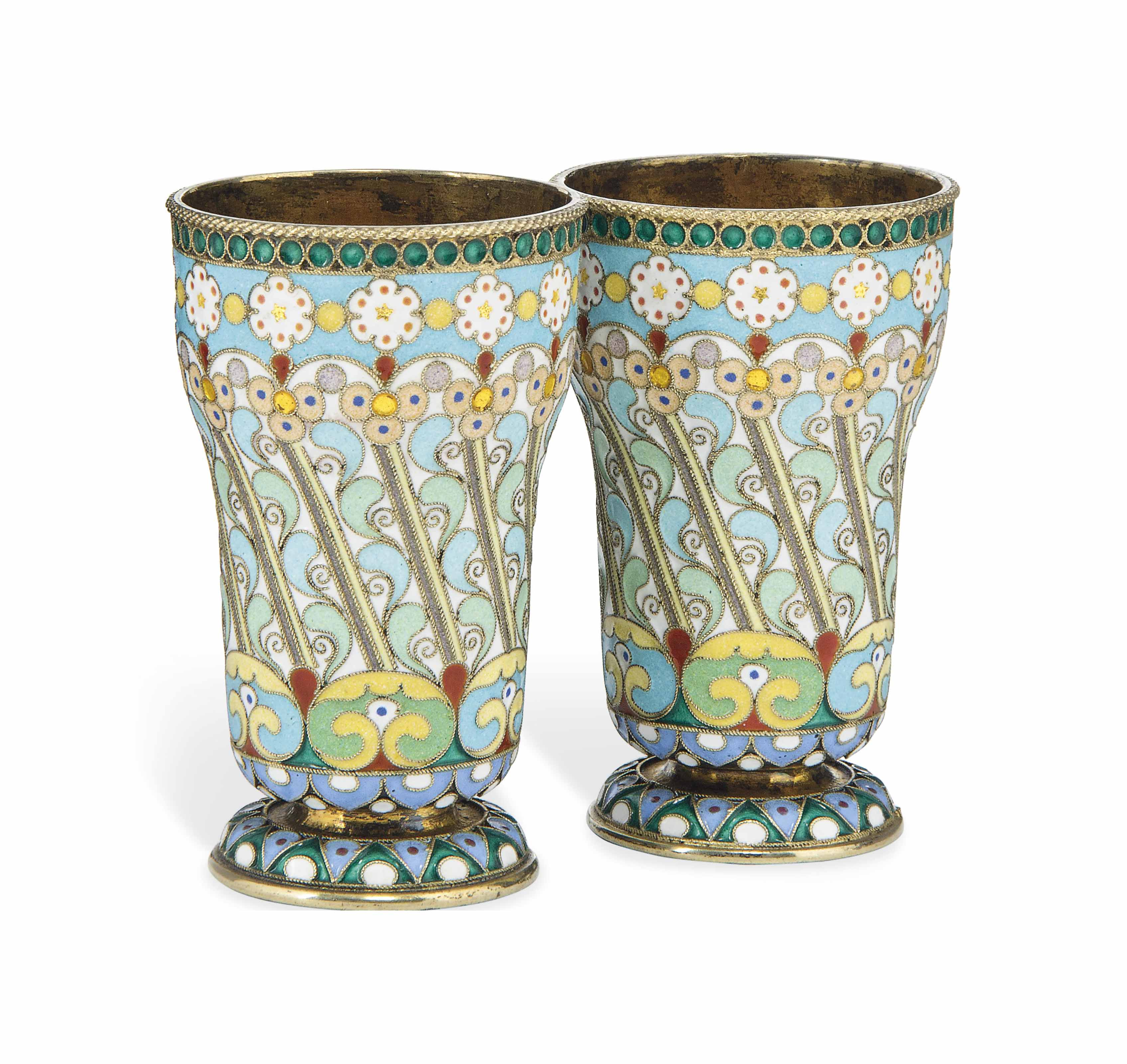 A PAIR OF RUSSIAN SILVER-GILT AND CLOISONNÉ ENAMEL BEAKERS