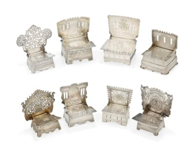 A GROUP OF EIGHT RUSSIAN SILVE