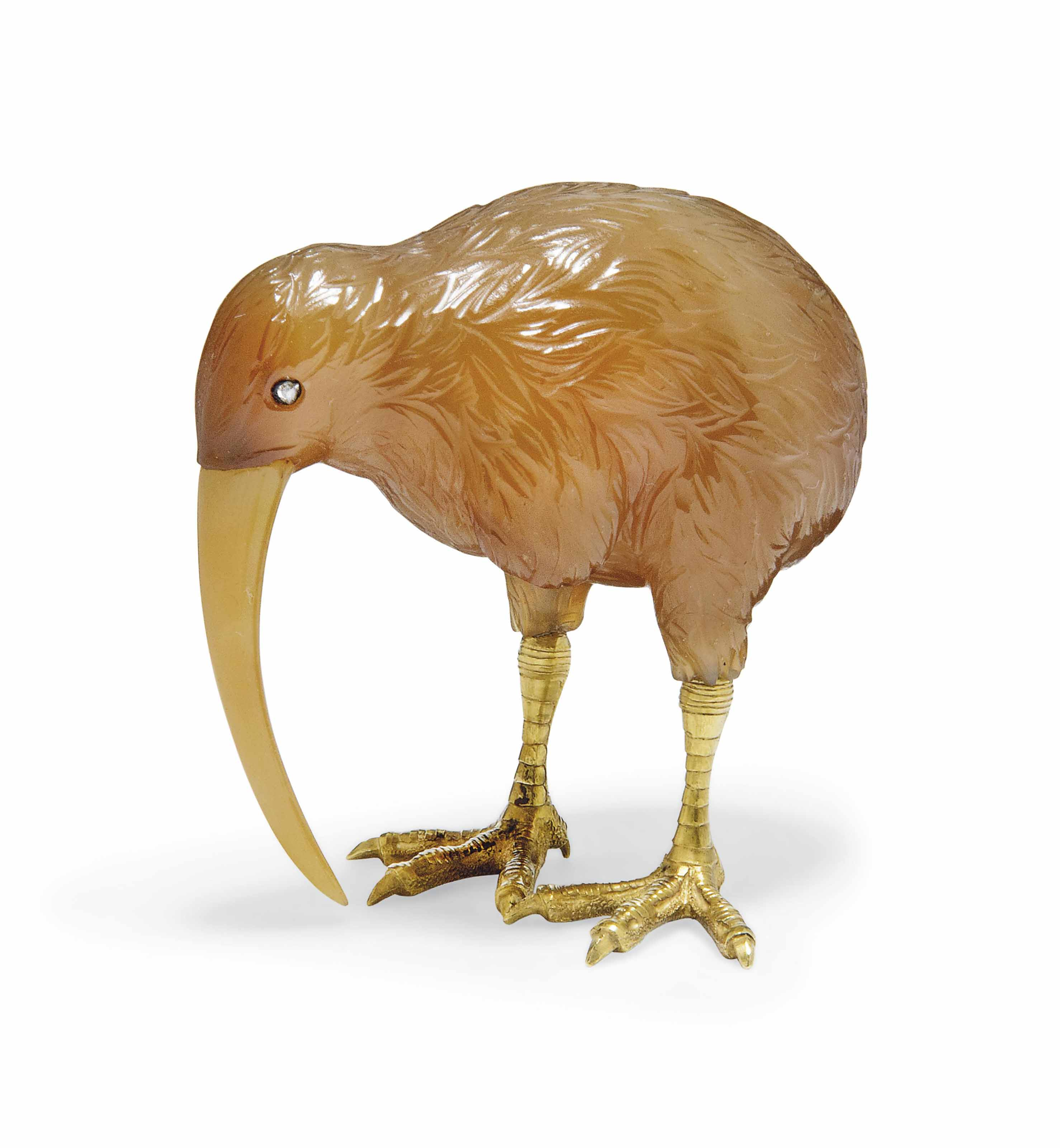 A CARVED AGATE MODEL OF A KIWI WITH GILT MOUNTS AND GEM-SET EYES