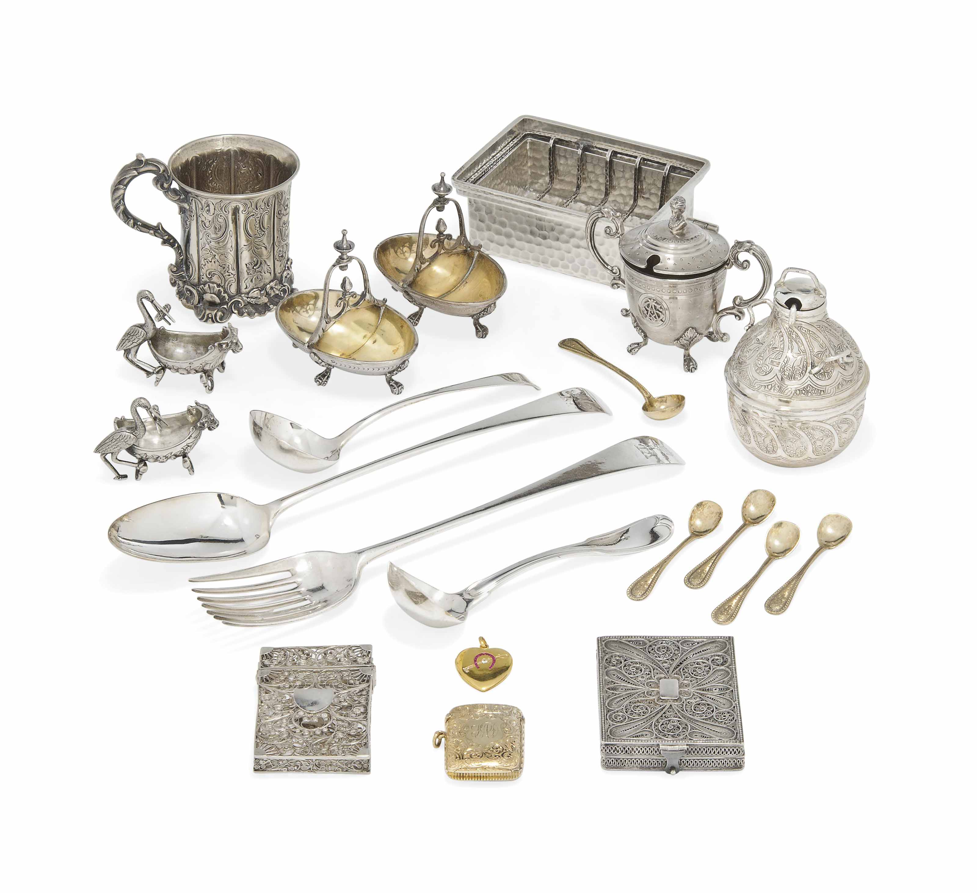 A FRENCH SILVER THREE-PIECE CONDIMENT SET