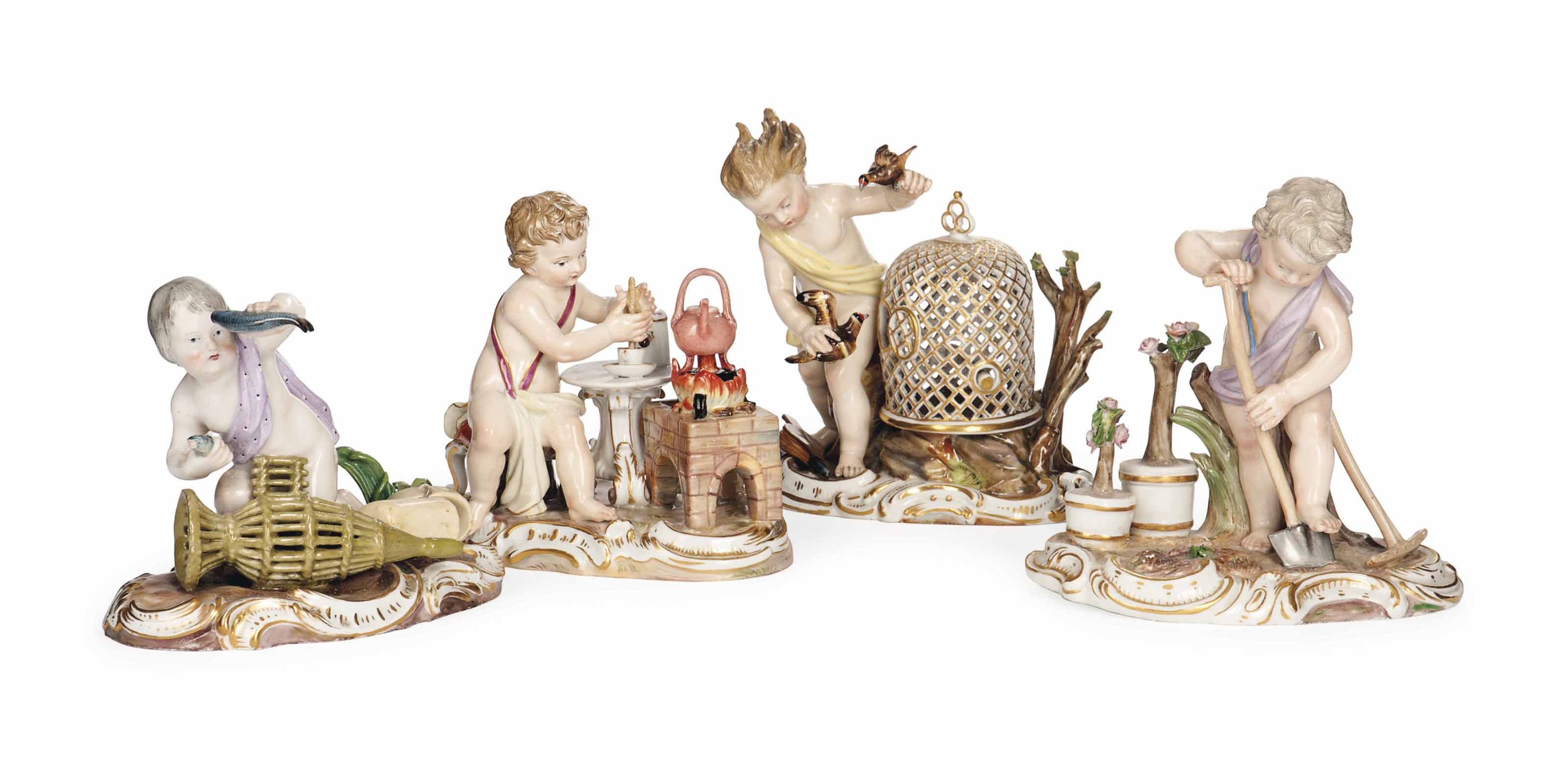 FOUR MEISSEN FIGURE GROUPS EMBLEMATIC OF THE ELEMENTS