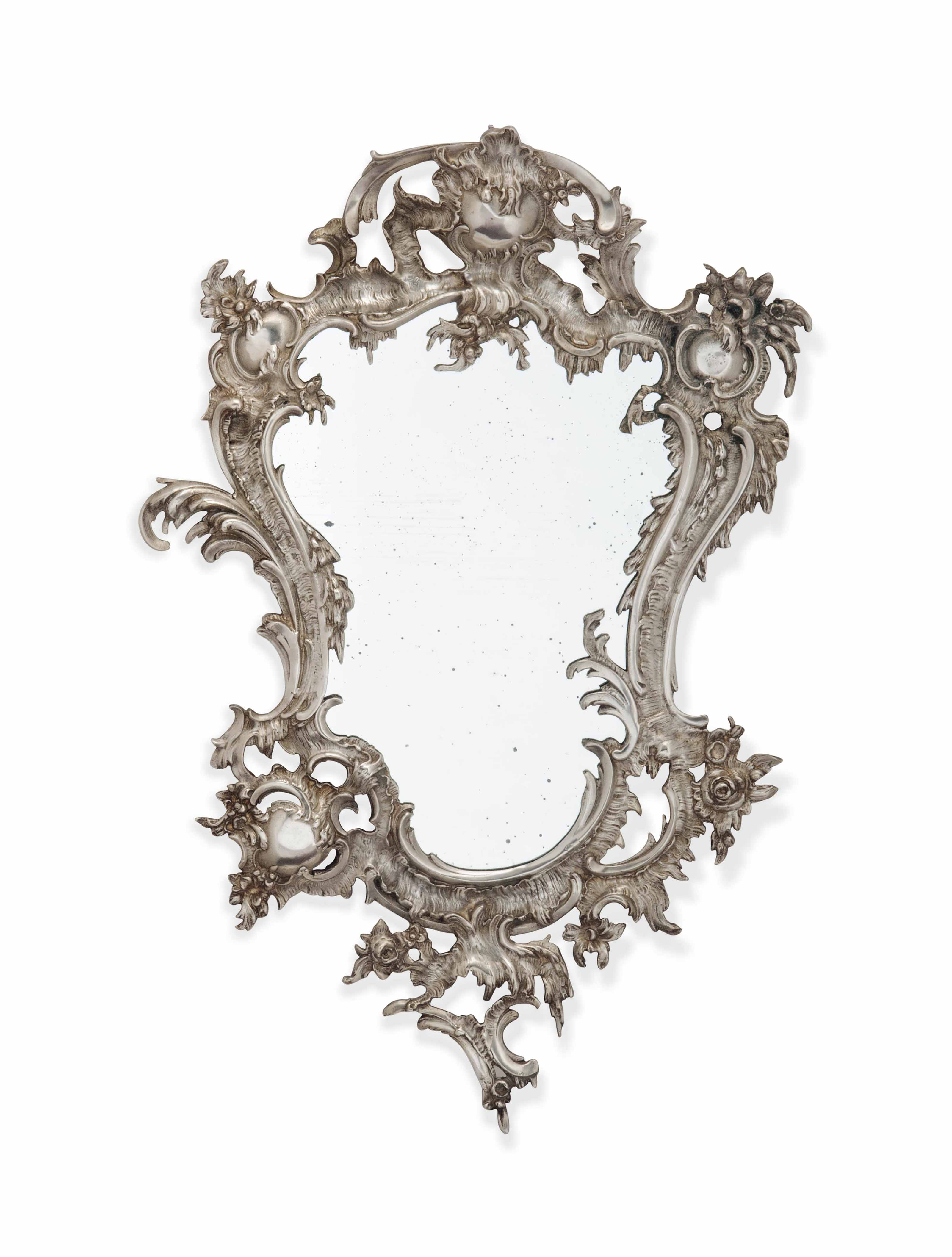 A FRENCH SILVERED BRASS WALL MIRROR