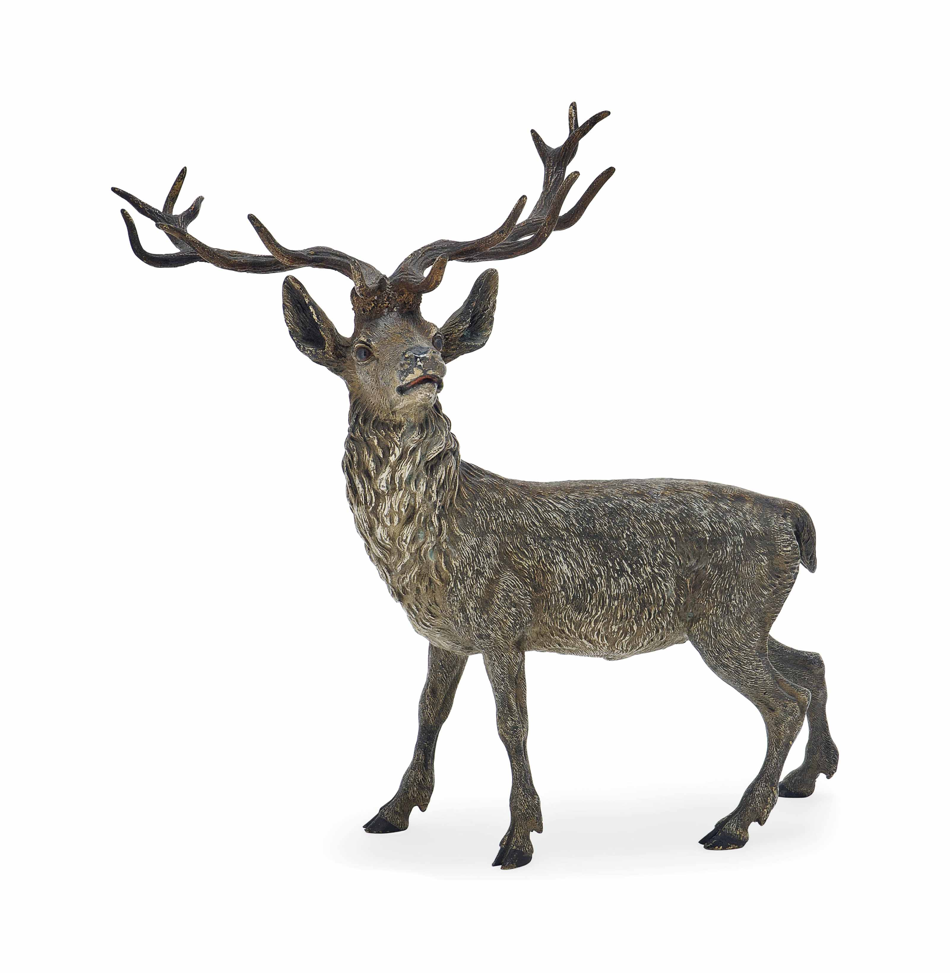 AN AUSTRIAN COLD-PAINTED BRONZE MODEL OF A STAG