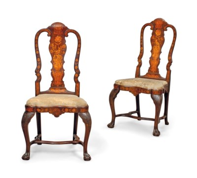 A PAIR OF DUTCH WALNUT AND MAR