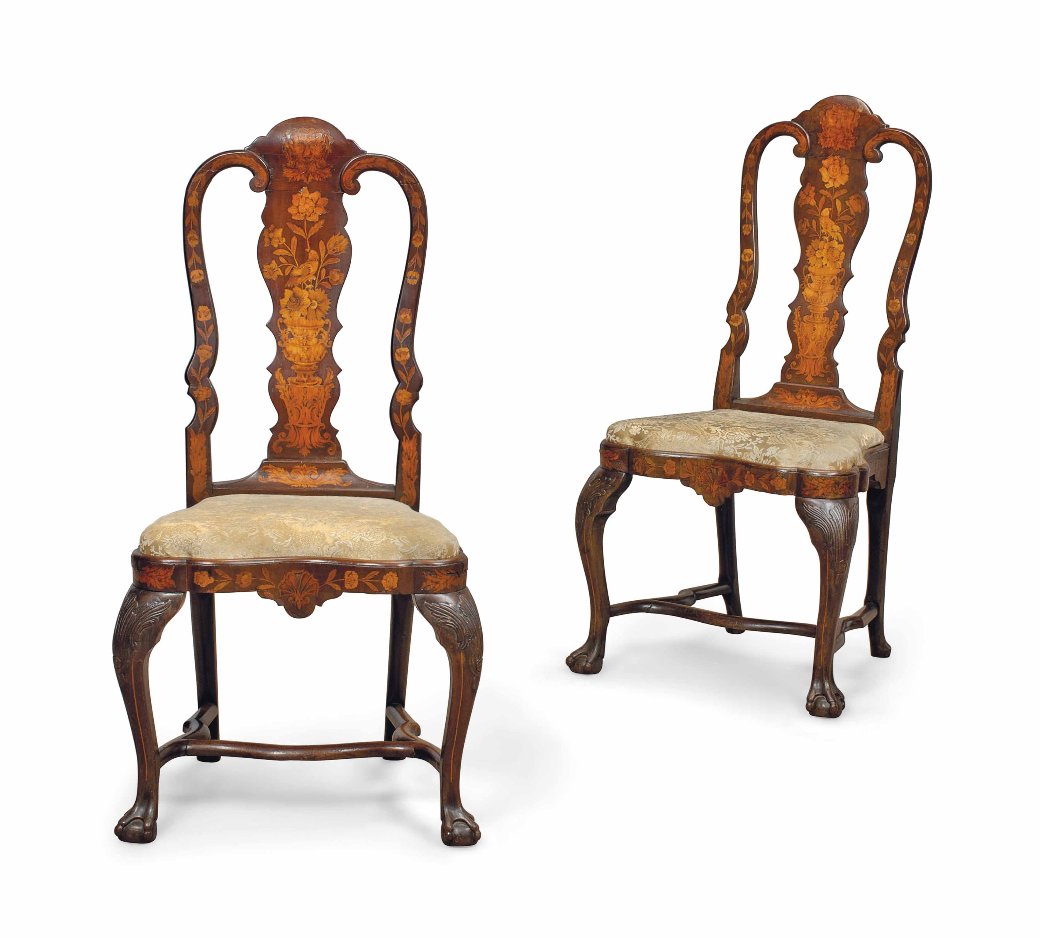 A PAIR OF DUTCH WALNUT AND MARQUETRY SIDE CHAIRS
