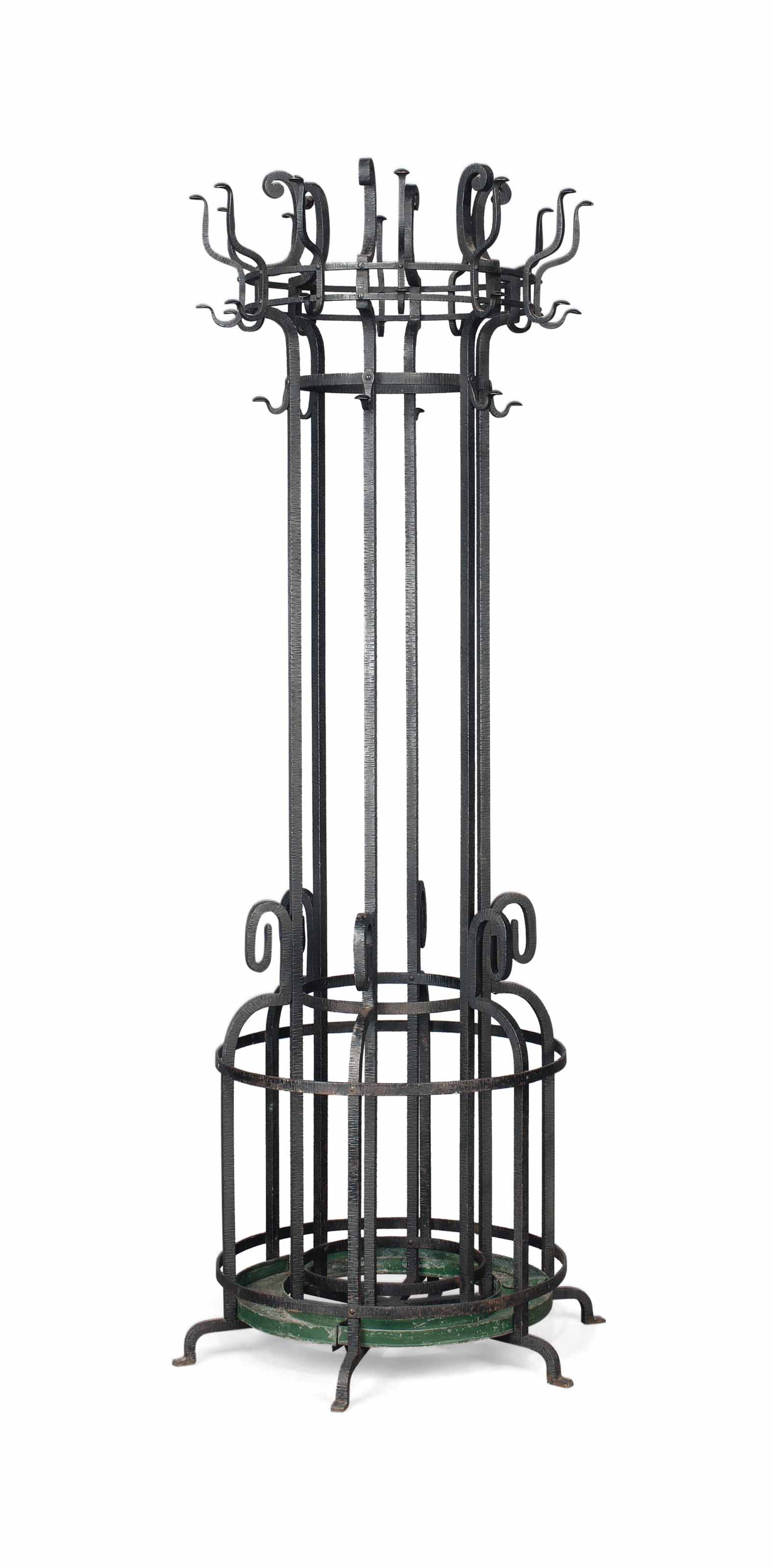A WROUGHT-IRON HALL STAND
