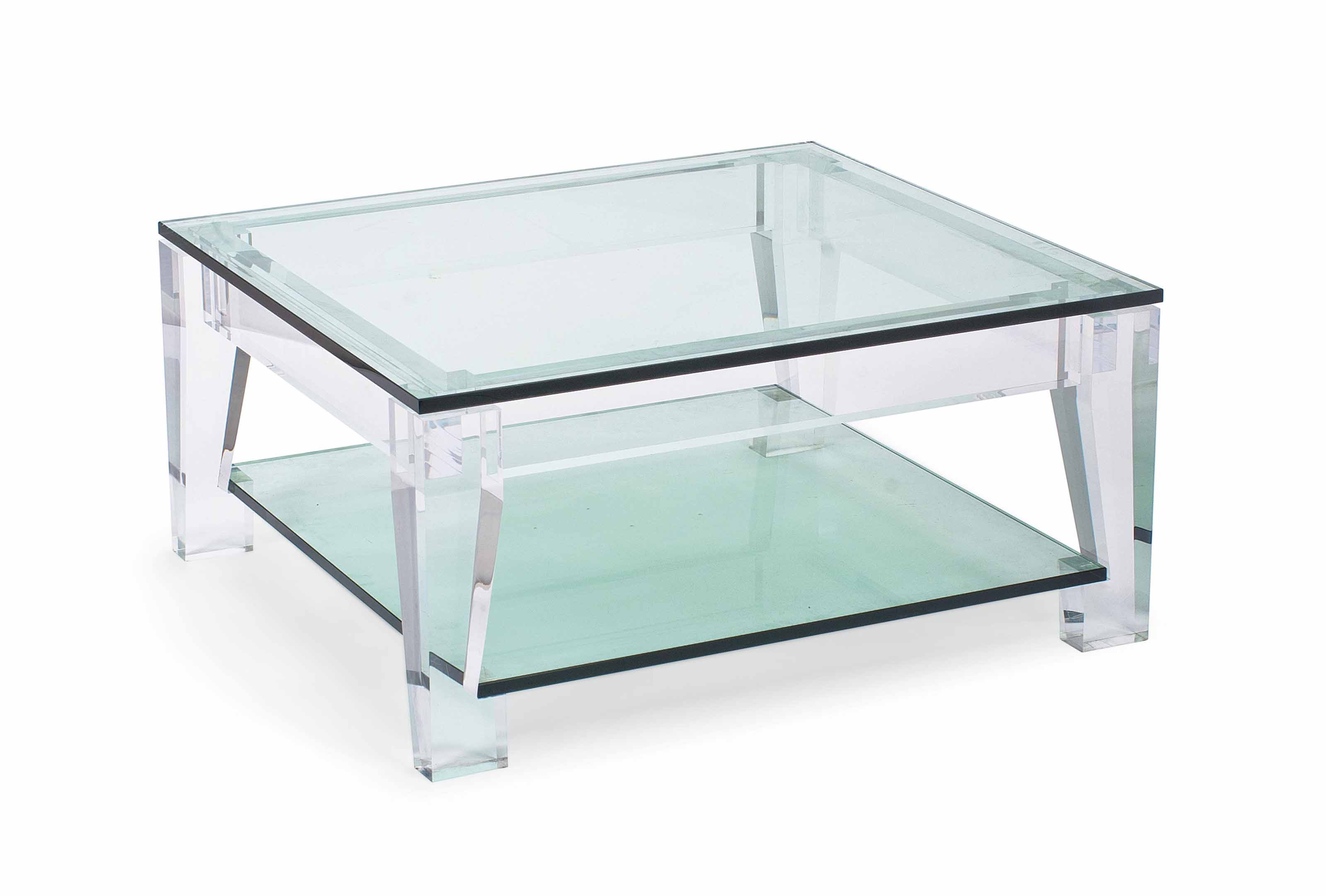 A PERSPEX AND GLASS LOW TABLE