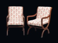 A PAIR OF VICTORIAN OAK OPEN ARMCHAIRS