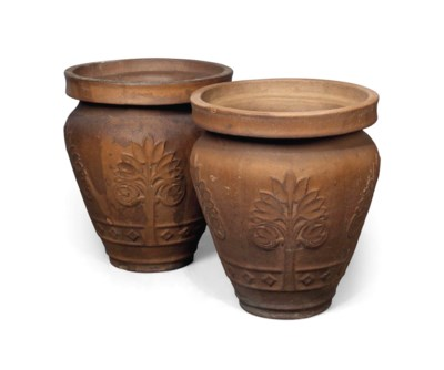 A PAIR OF GLAZED EARTHENWARE G