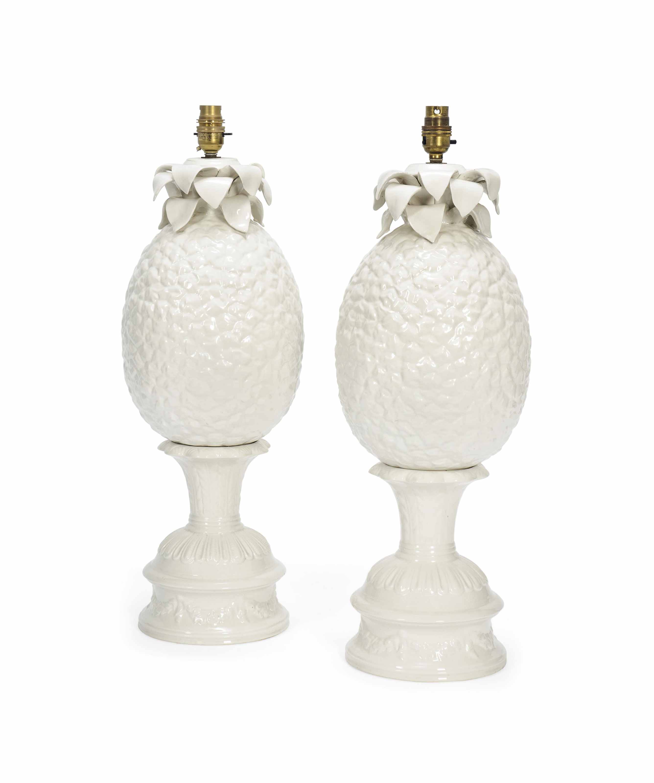 A PAIR OF ITALIAN FAIENCE WHITE-GLAZED LAMP-BASES