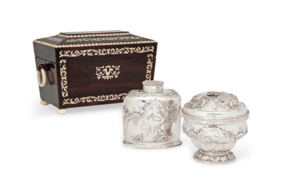 A GEORGE II SILVER TEA CANISTE