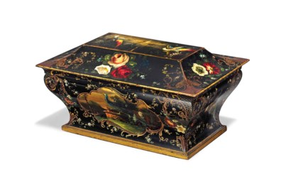 A LARGE FRENCH BLACK AND GILT-