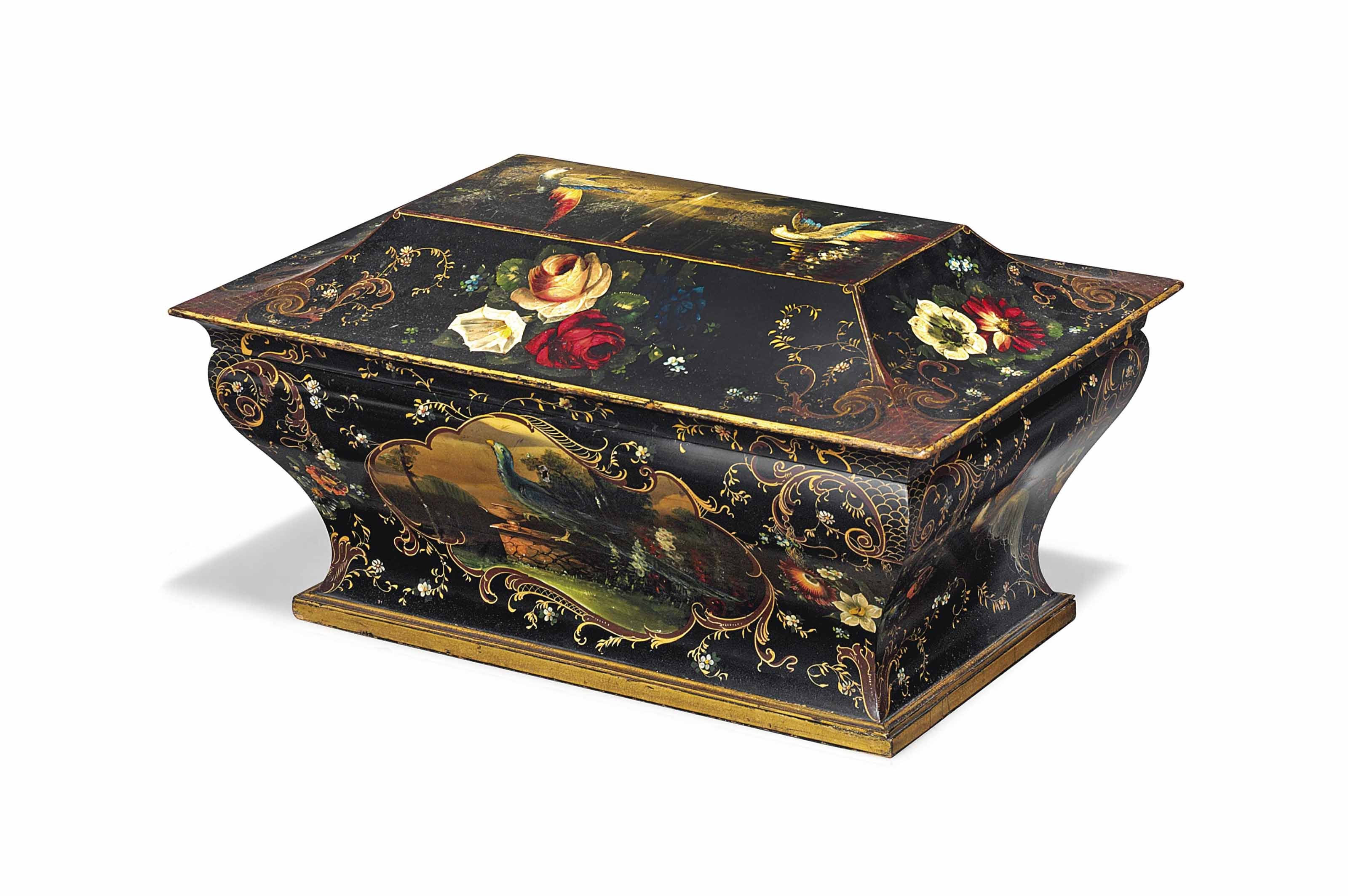 A LARGE FRENCH BLACK AND GILT-JAPANNED AND POLYCHROME-DECORATED PAPIER MACHE WORKBOX