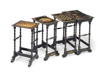 A SET OF FRENCH BLACK AND GILT