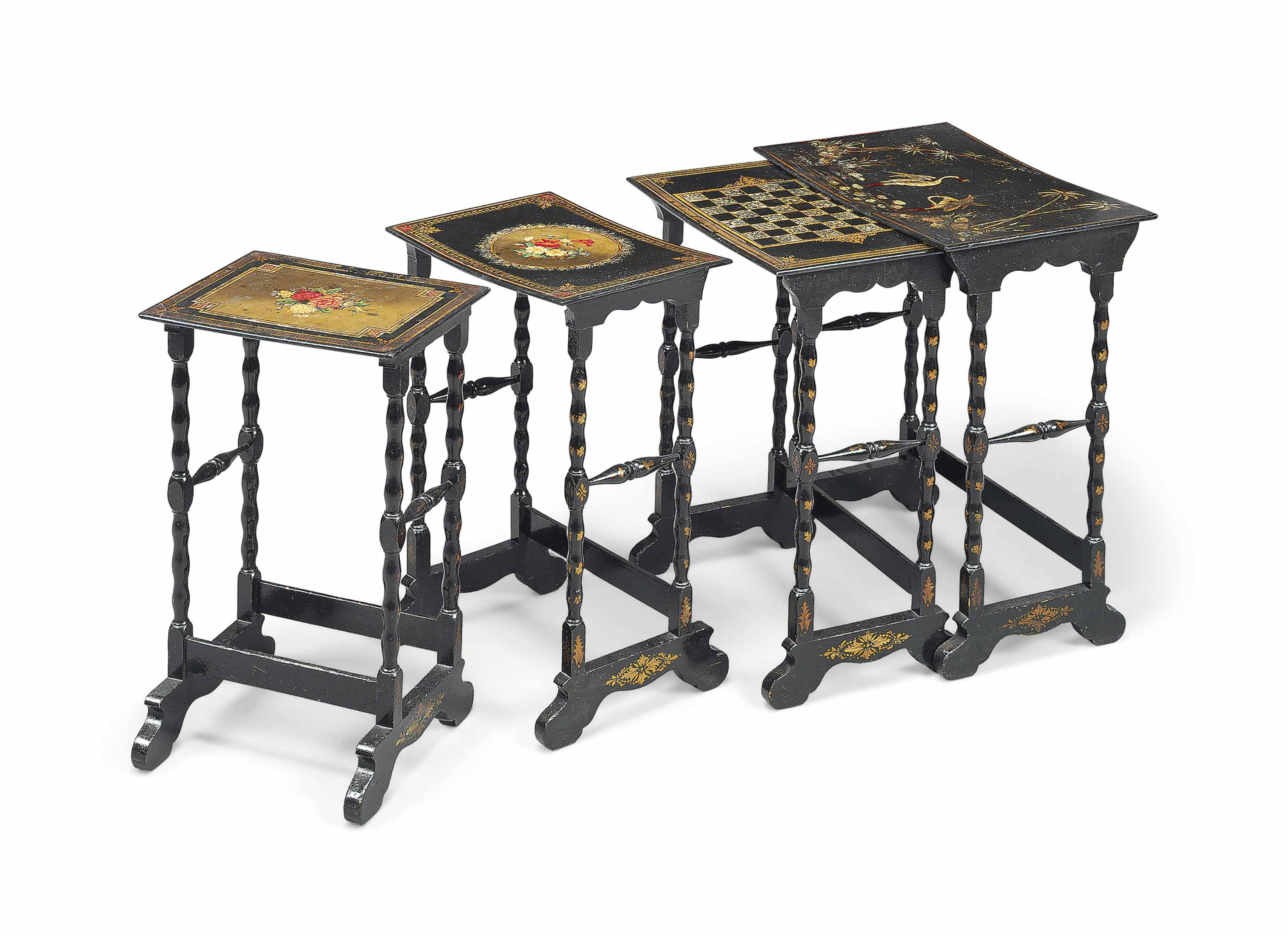 A SET OF FRENCH BLACK AND GILT-JAPANNED AND MOTHER-OF-PEARL INLAID PAPIER MACHE QUARTETTO TABLES
