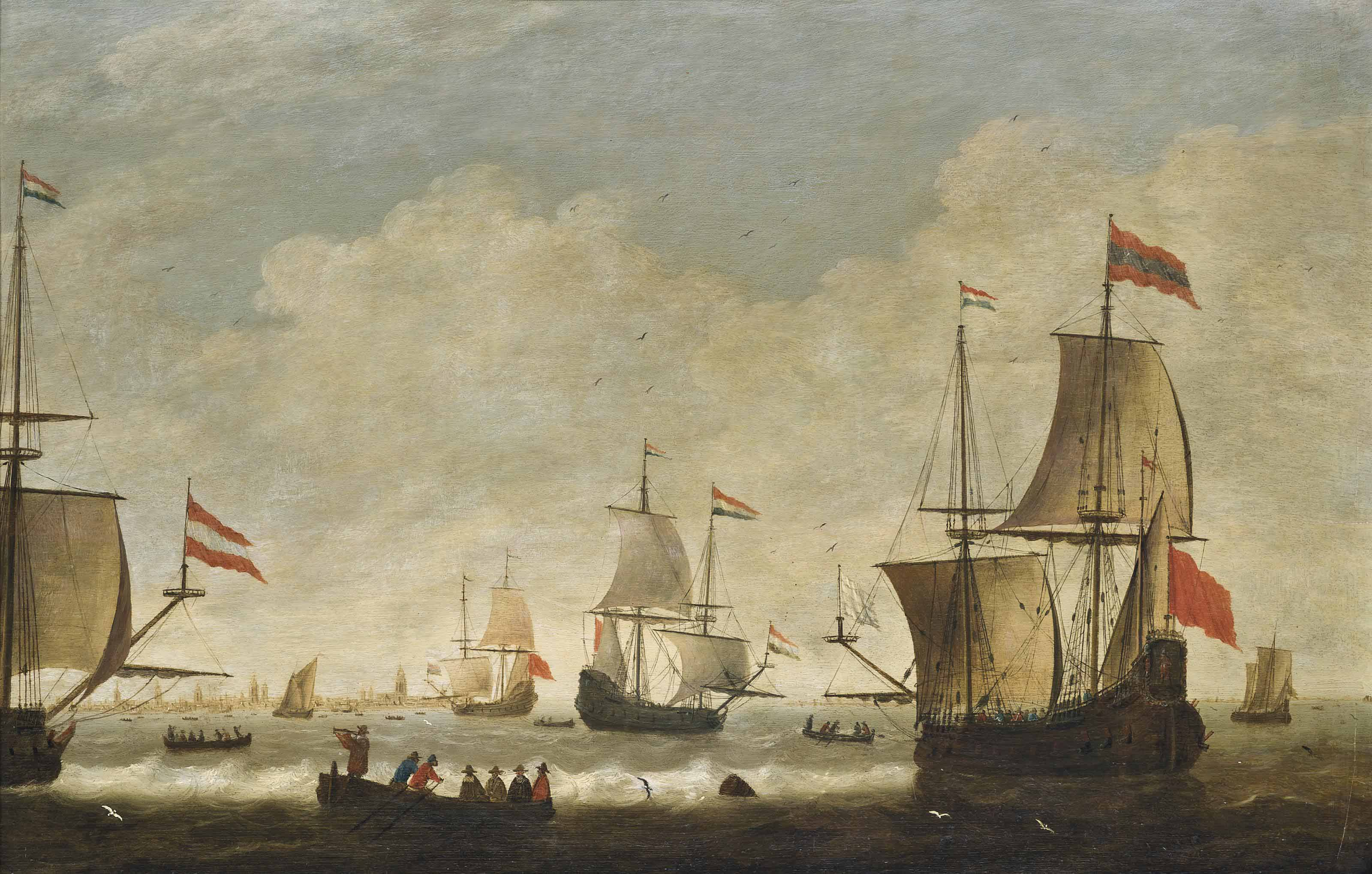 The Dutch fleet getting underway from their anchorage off Amsterdam