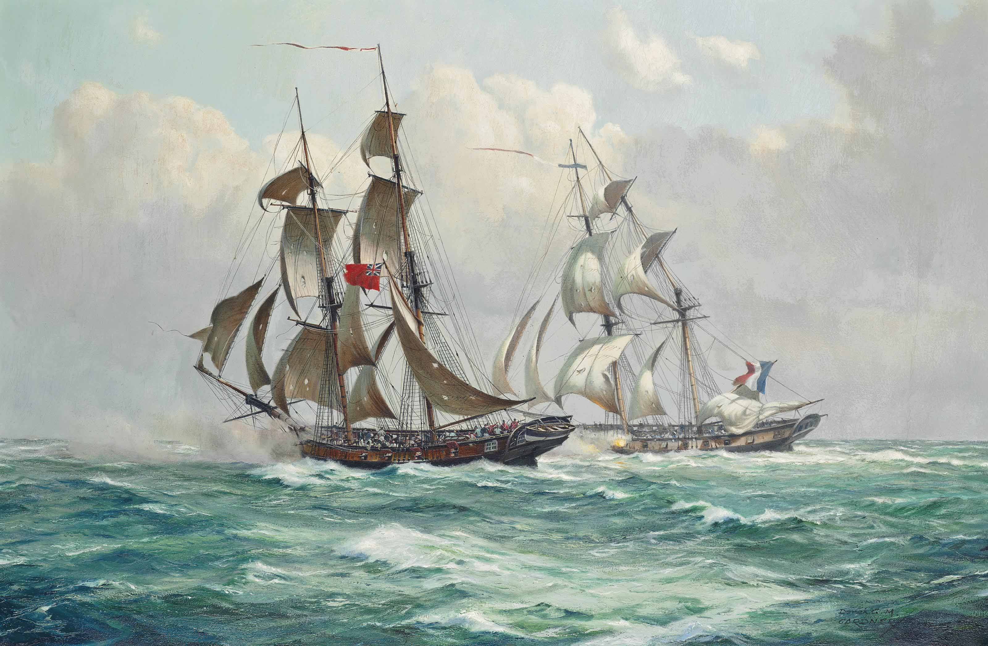A fierce engagement between H.M.S. Penguin and the French corvette Oiseau on  21st August 1797