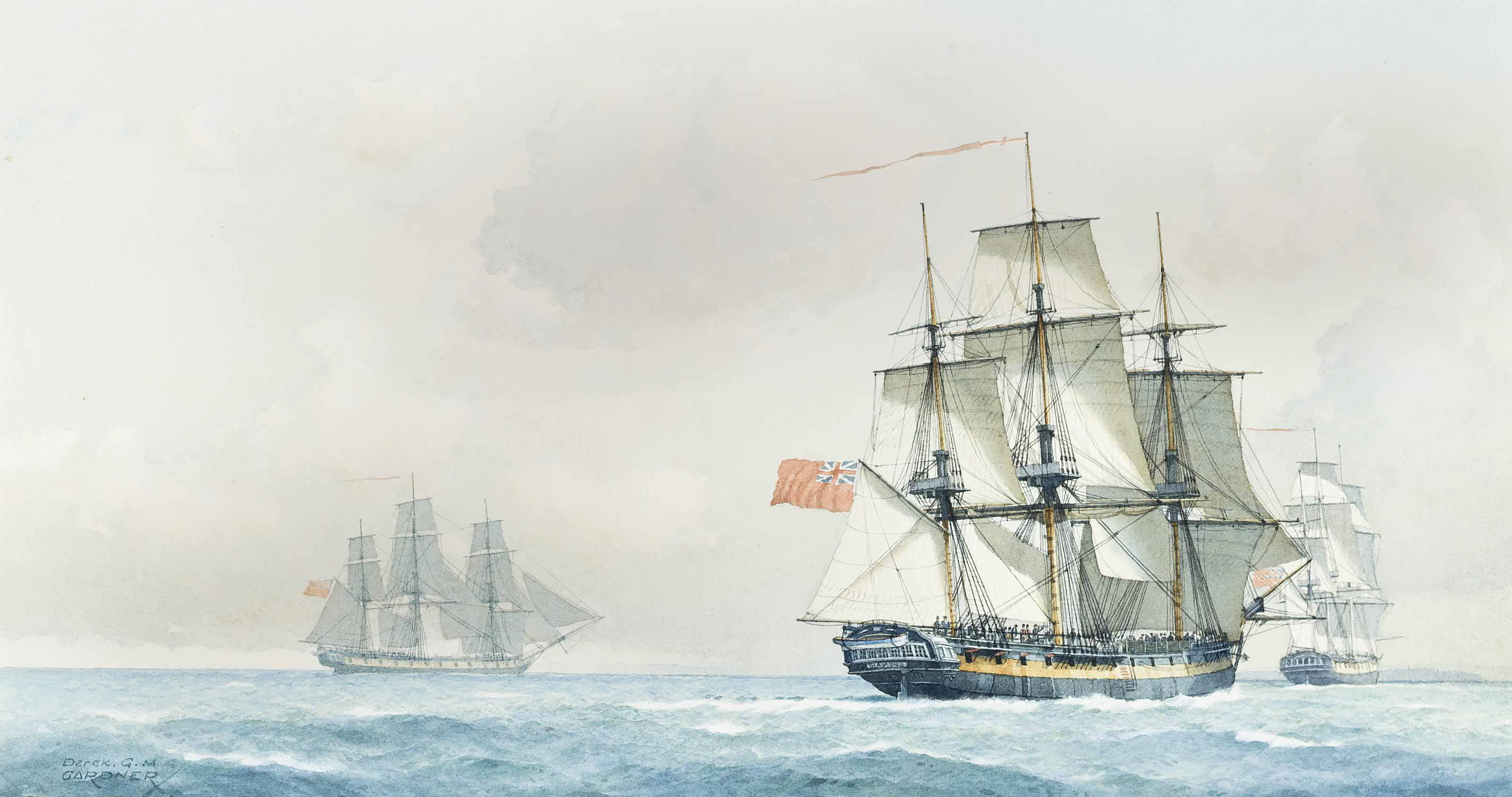 H.M. frigate Diamond, 38-guns, in company with H.M.S. Flora, 36-guns, and H.M.S. Arethusa, 38-guns, on passage to Brest, 2nd January, 1795