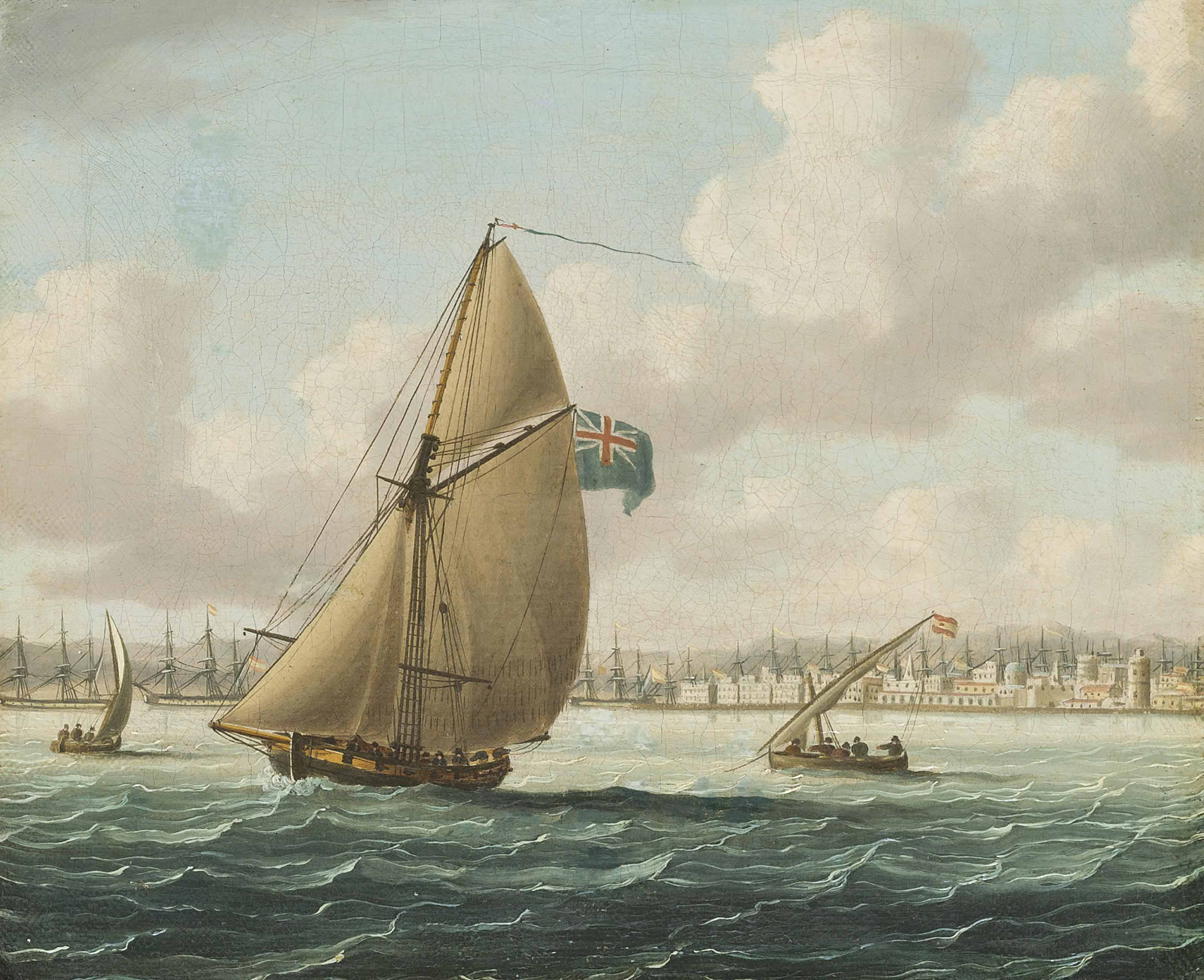 The blockade of Cadiz, 1797: The Spanish fleet lying in the port of Cadiz with a Royal Navy cutter patrolling the harbour