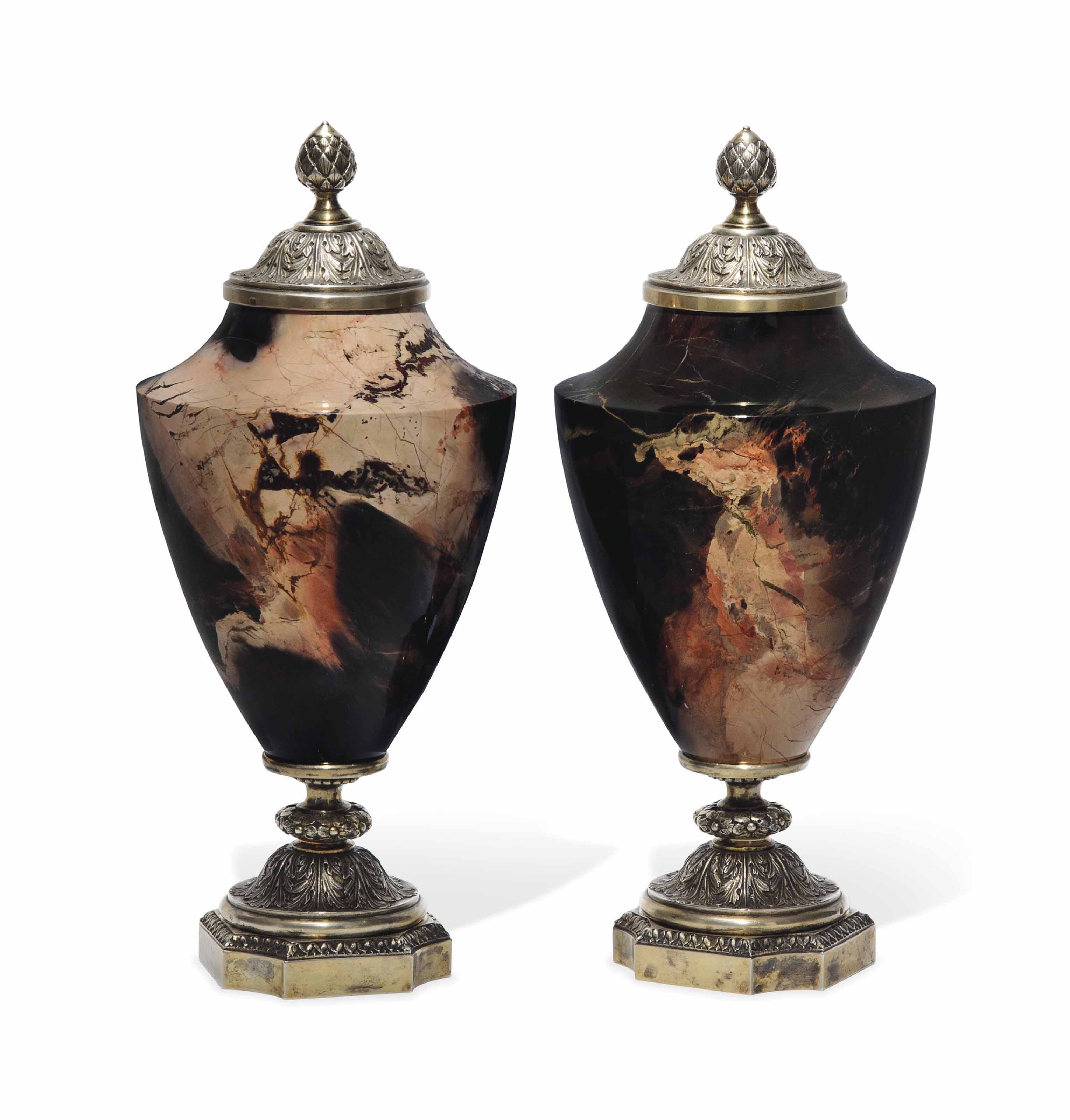 A PAIR OF RUSSIAN SILVER-MOUNTED RIBBON JASPER URNS